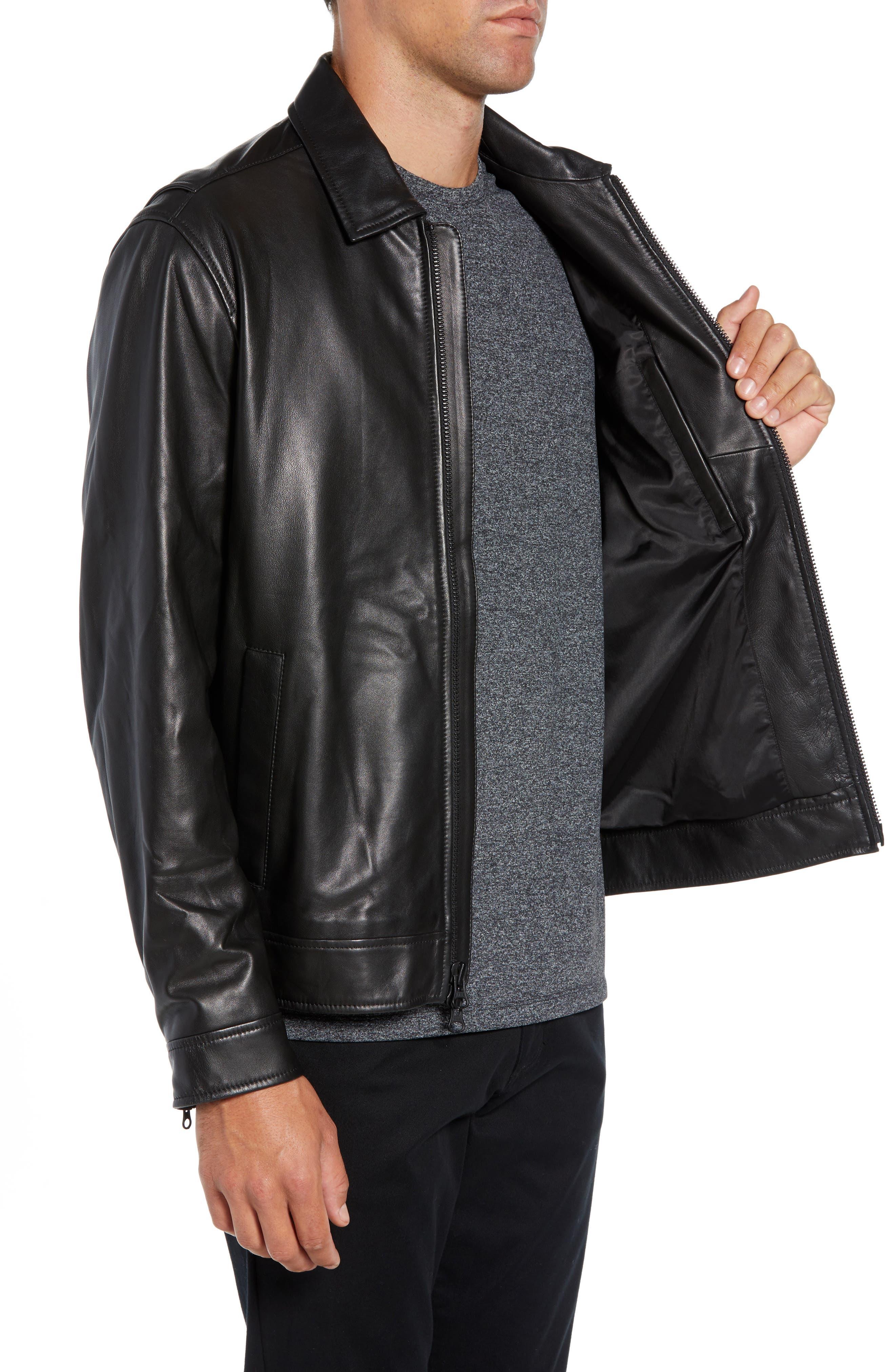 Leather Jacket,                             Alternate thumbnail 3, color,                             BLACK