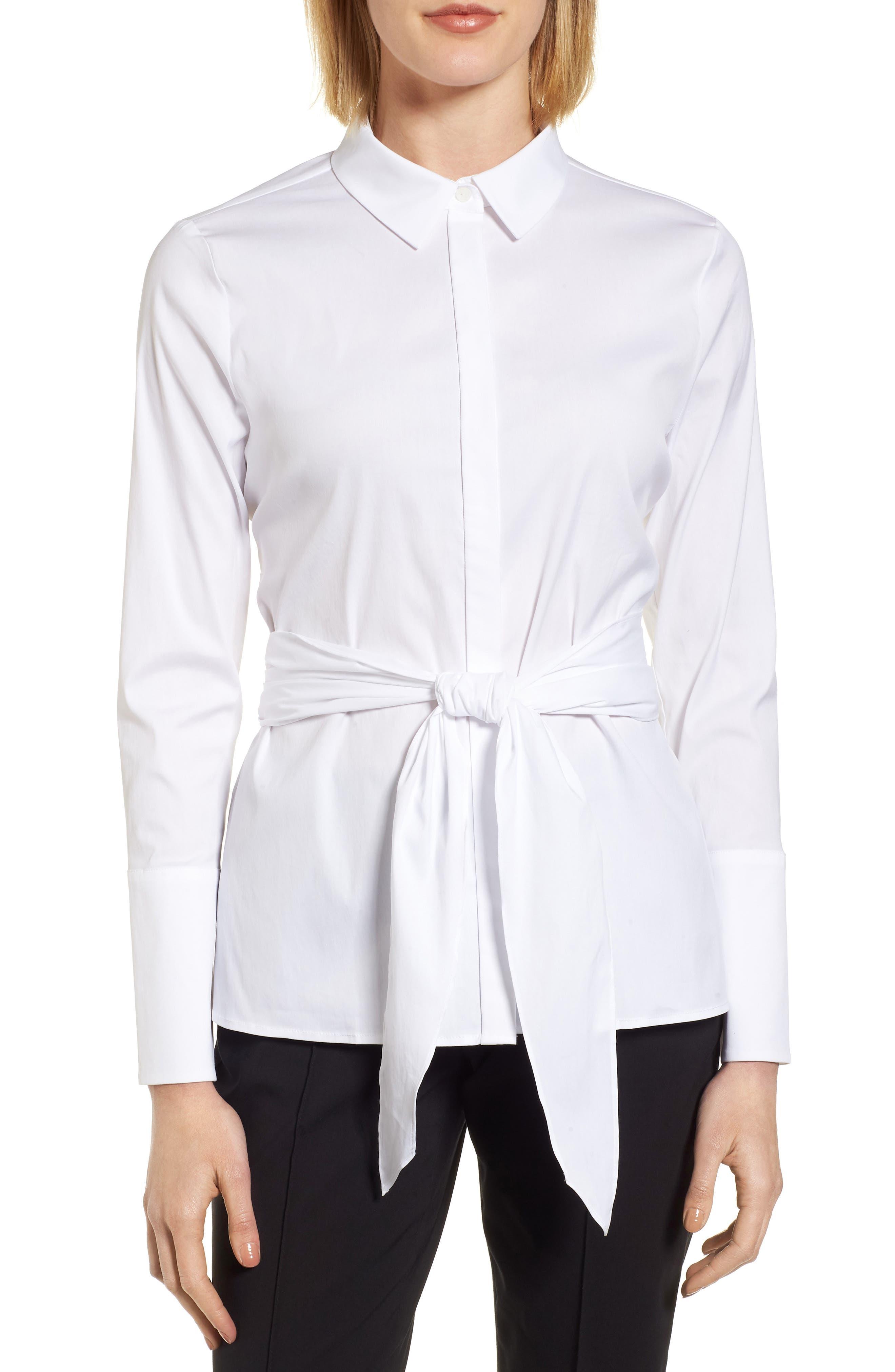 Tie Front Cotton Blend Blouse,                         Main,                         color, 100
