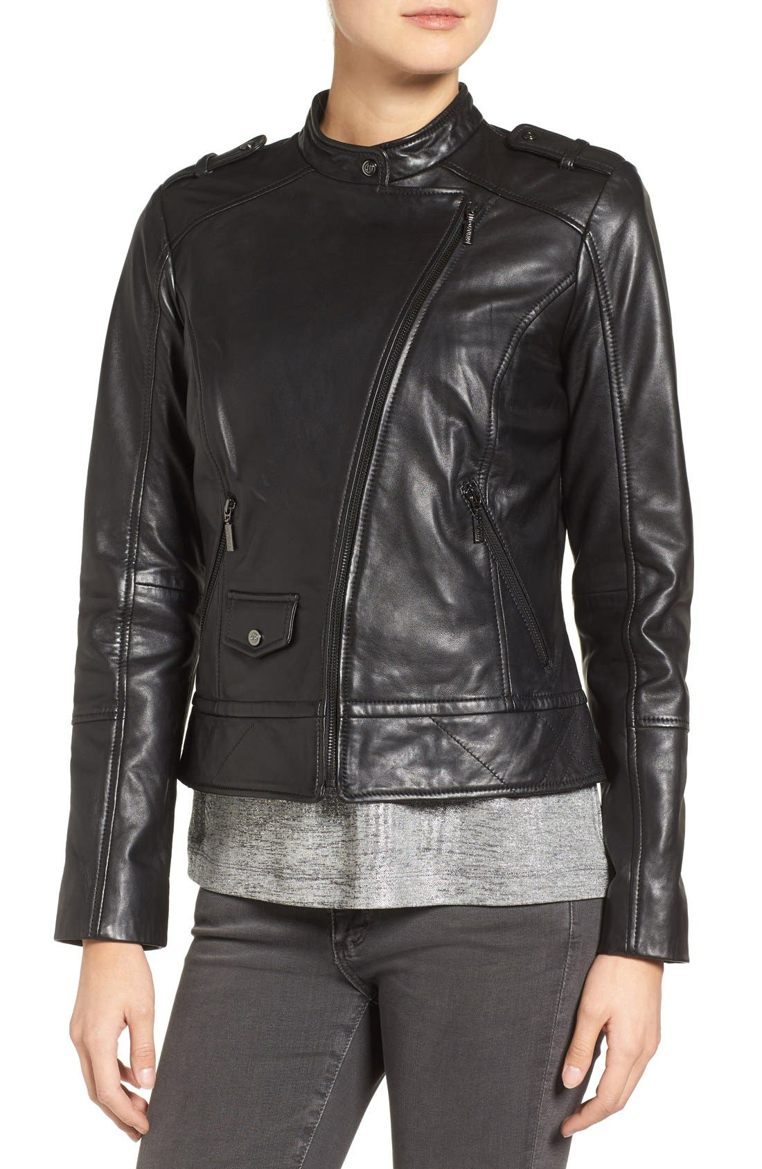 Slim Fit Leather Moto Jacket,                             Alternate thumbnail 4, color,                             001