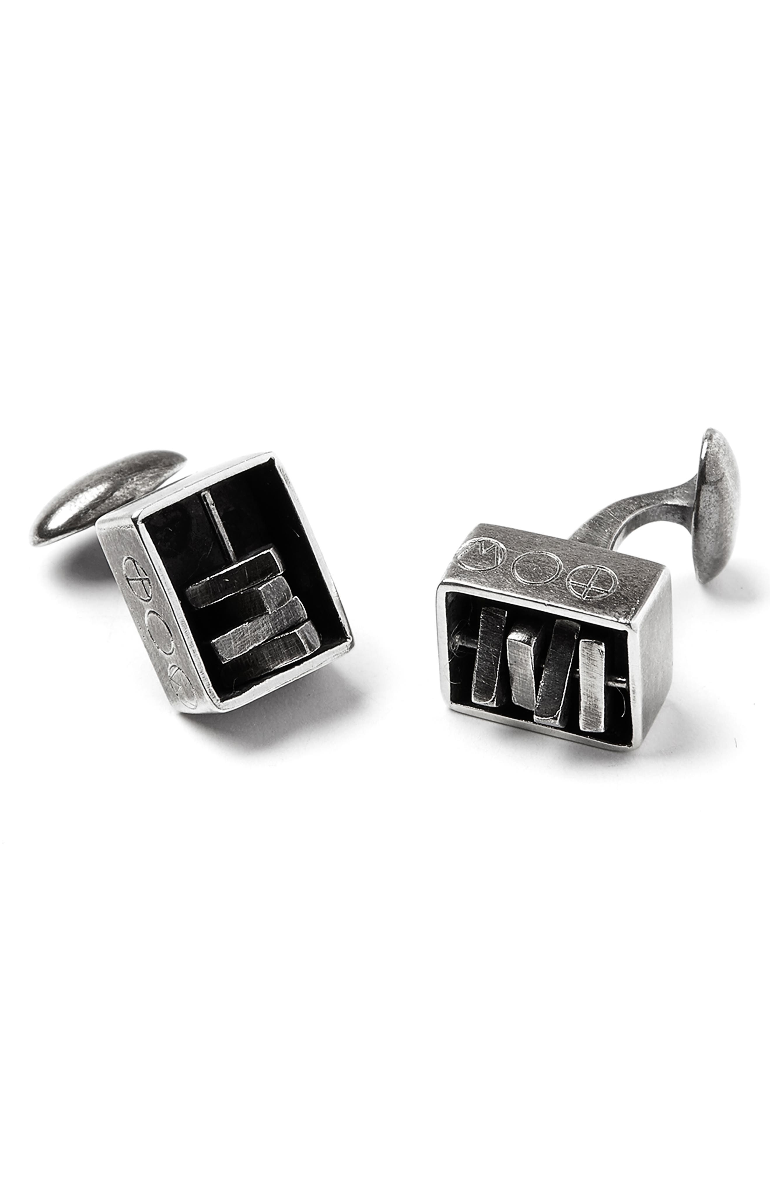 Encased Spinner Cuff Links,                         Main,                         color, SILVER