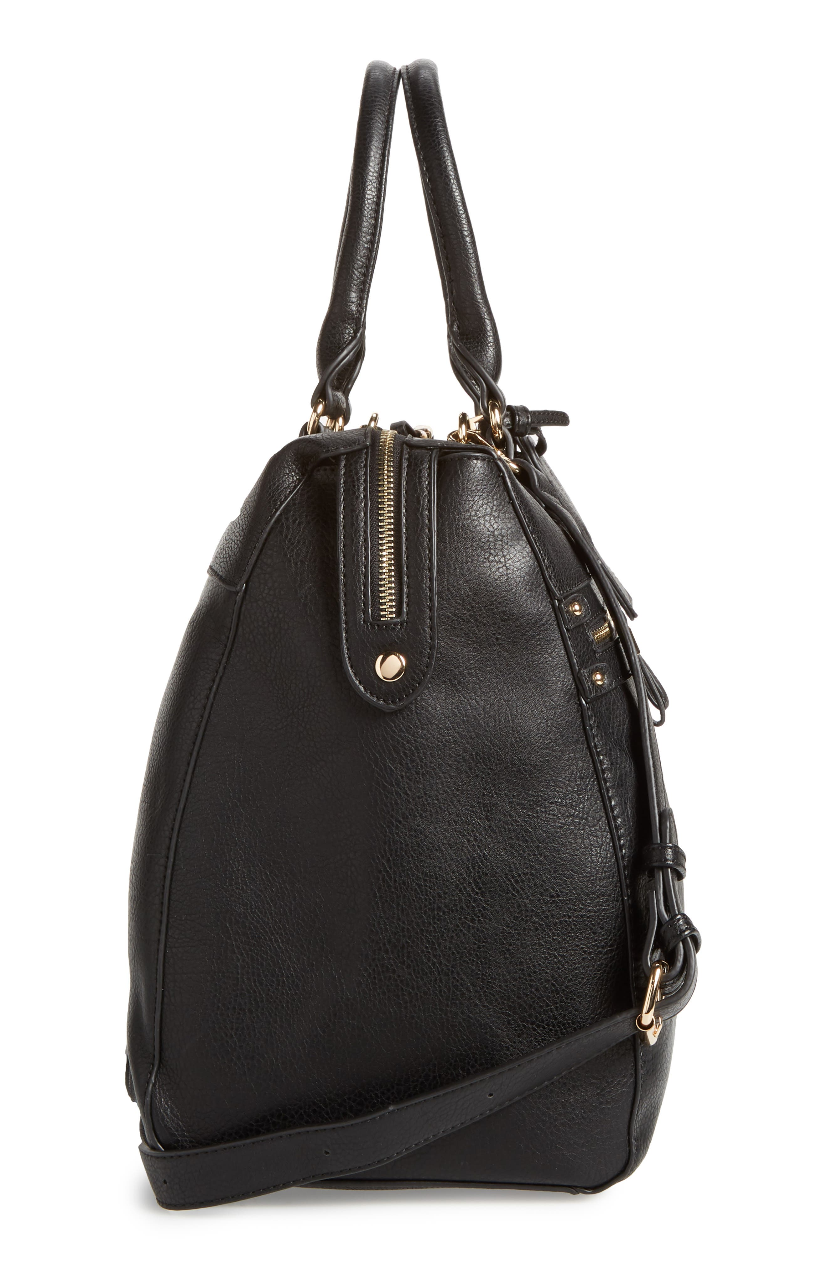 Zypa Faux Leather Weekend Bag,                             Alternate thumbnail 5, color,                             BLACK