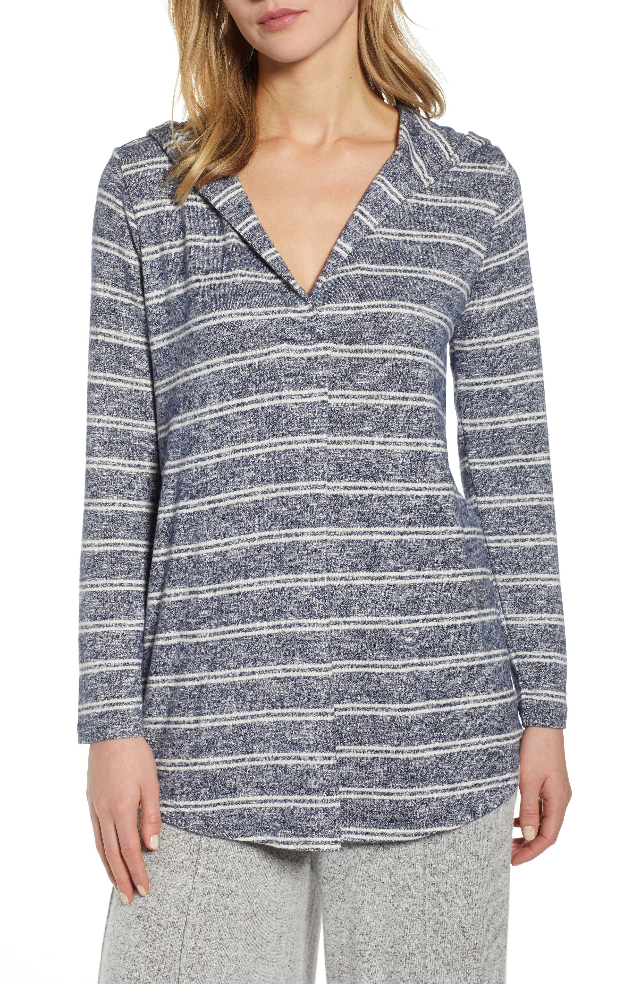 LOU & GREY Brushline Hooded Shirttail Top, Main, color, BLUE/ WHITE STRIPE AS HEADER
