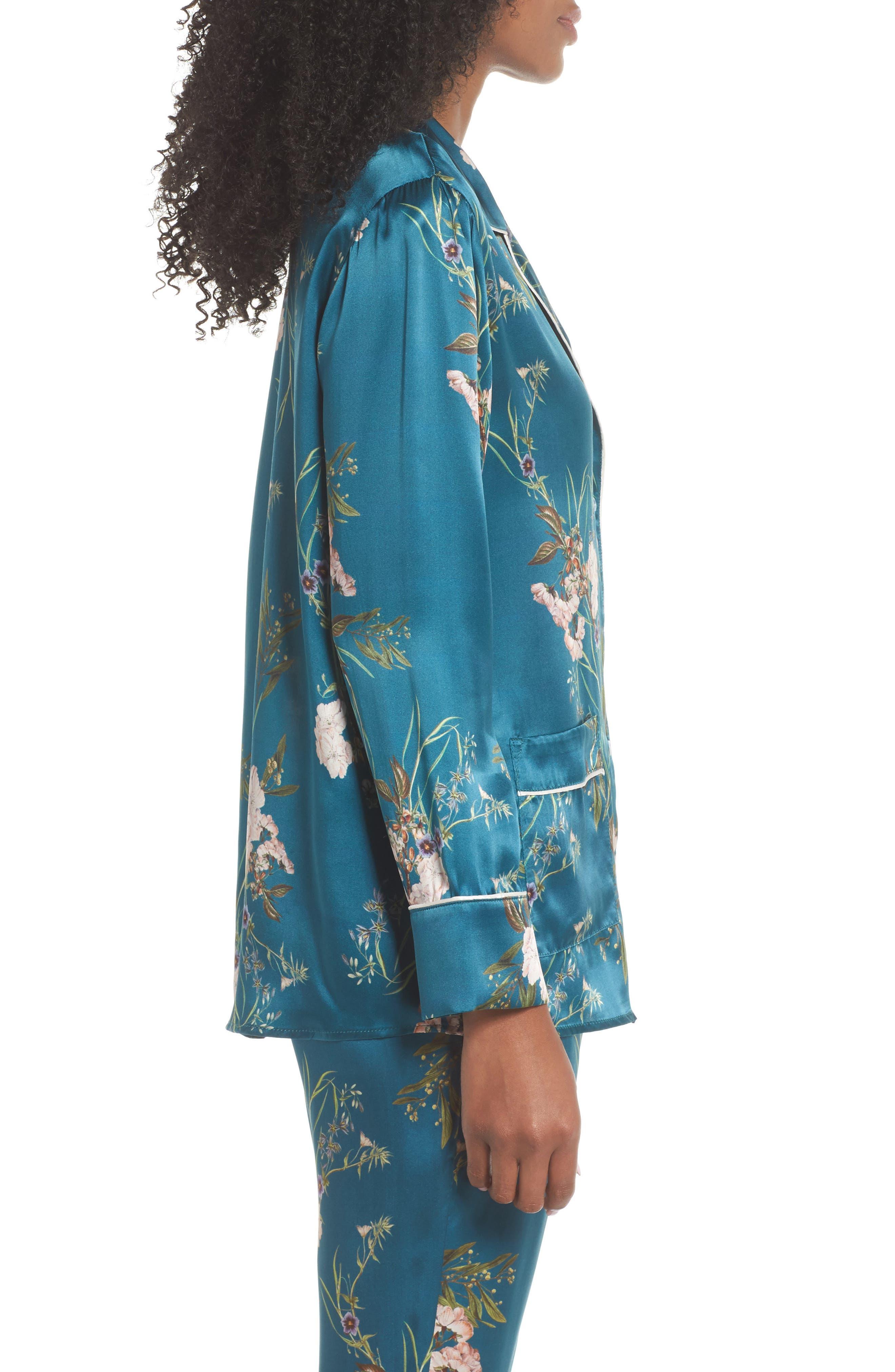 Jenny Silk Pajama Top,                             Alternate thumbnail 3, color,                             442