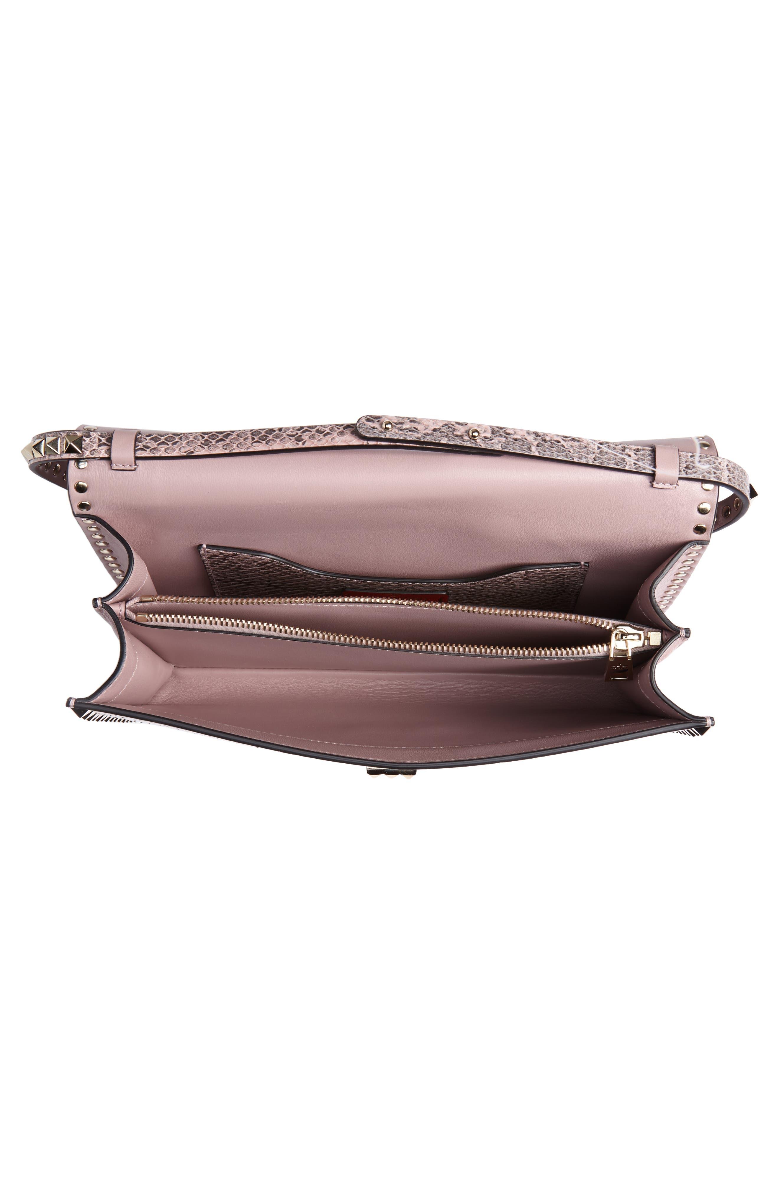 Ayers Rockstud Genuine Snakeskin & Leather Shoulder Bag,                             Alternate thumbnail 4, color,                             LIP
