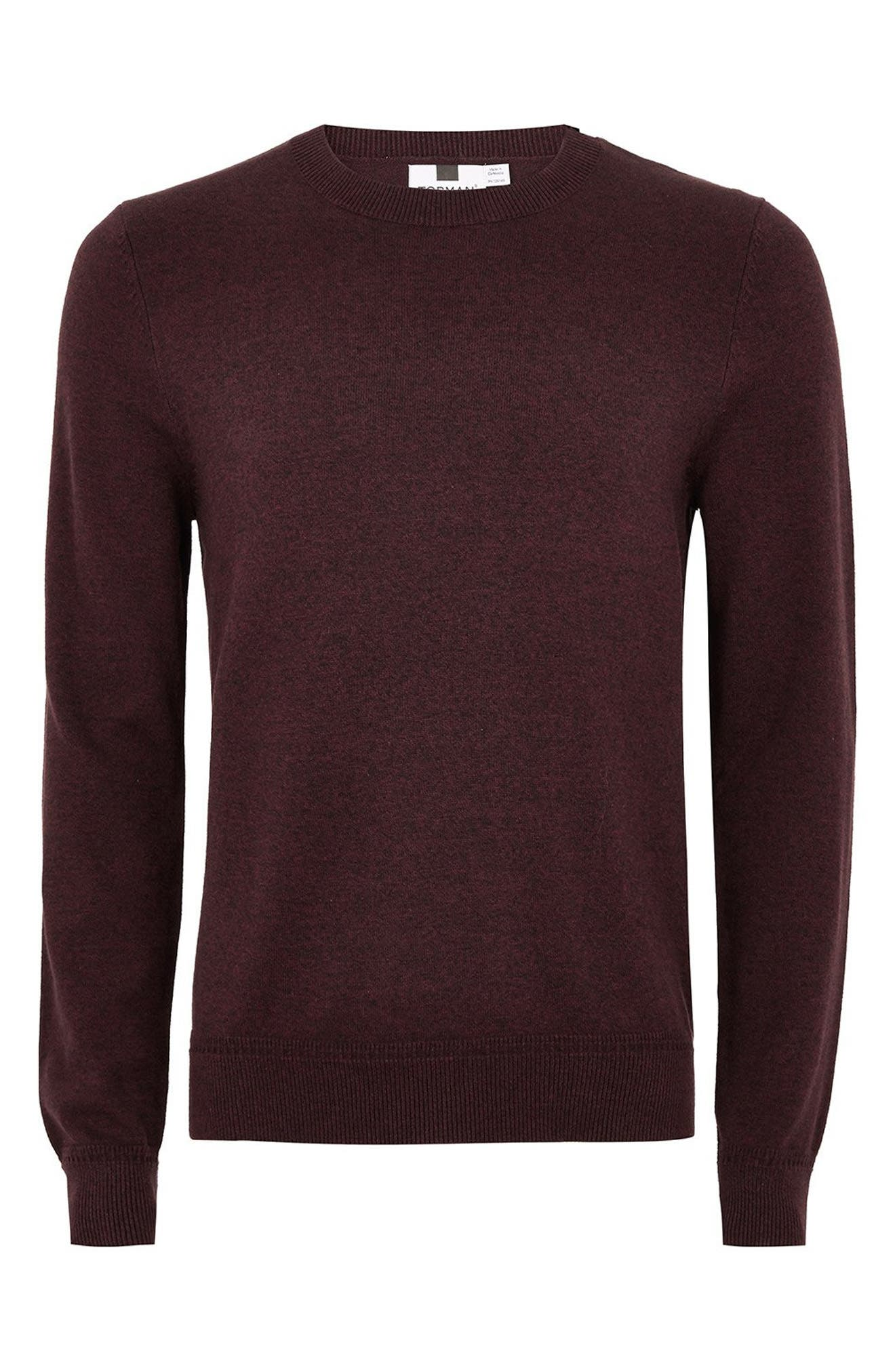 Classic Crewneck Sweater,                             Alternate thumbnail 4, color,                             BURGUNDY