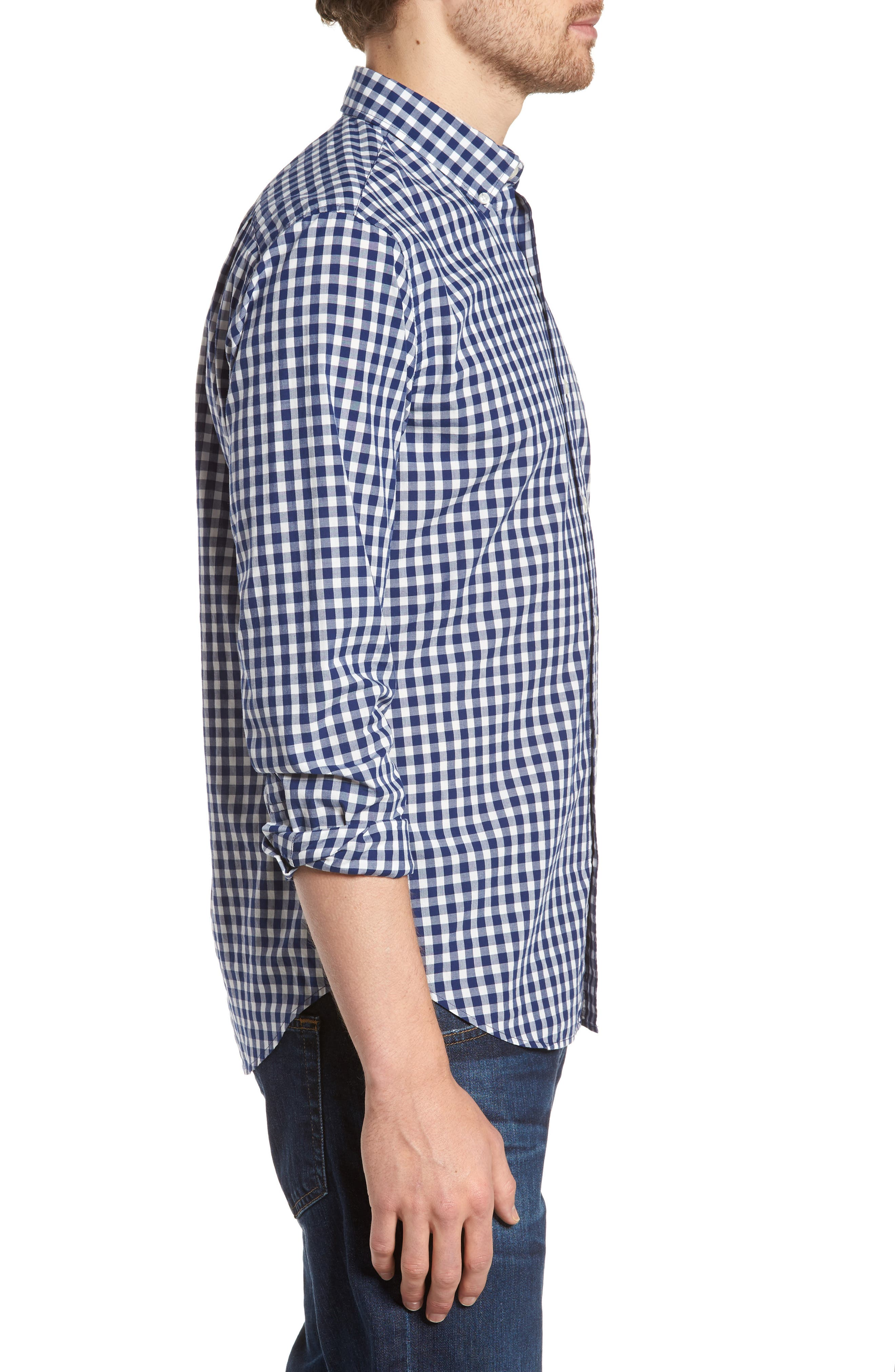 Summerweight Slim Fit Check Sport Shirt,                             Alternate thumbnail 3, color,                             400