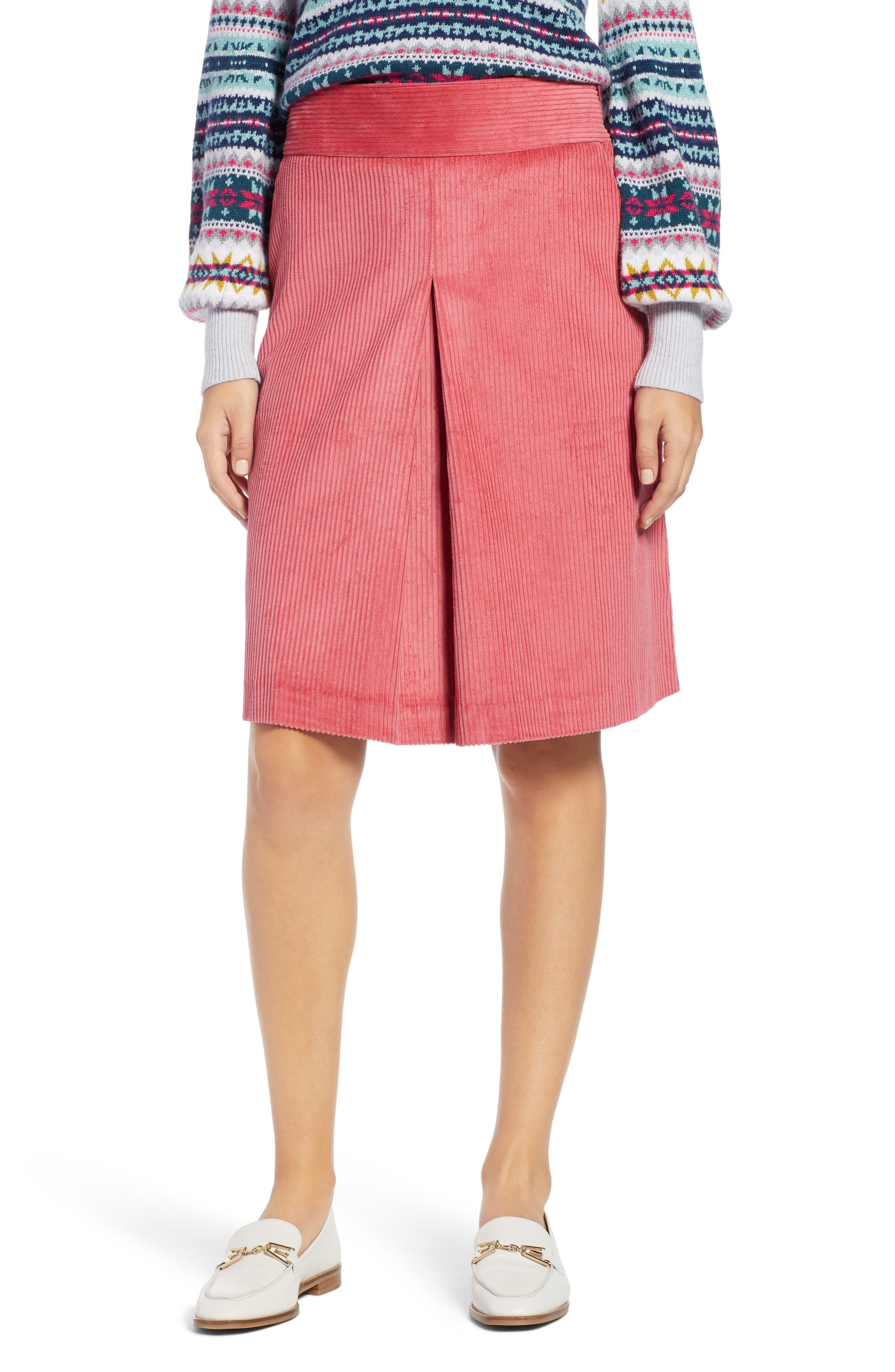 Corduroy Knee Length Skirt,                             Main thumbnail 1, color,                             660