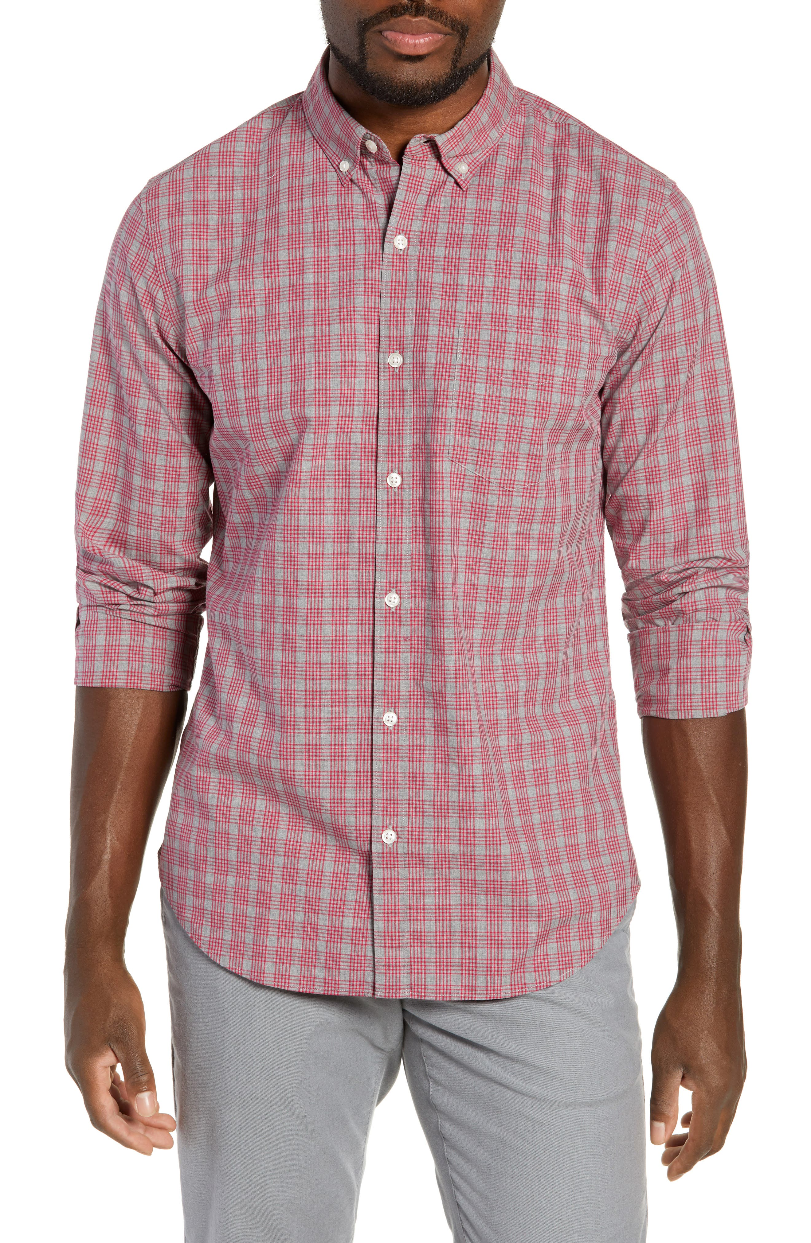 Washed Button Down Slim Fit Check Sport Shirt,                             Main thumbnail 1, color,                             MATTHEW CHECK - CERISE