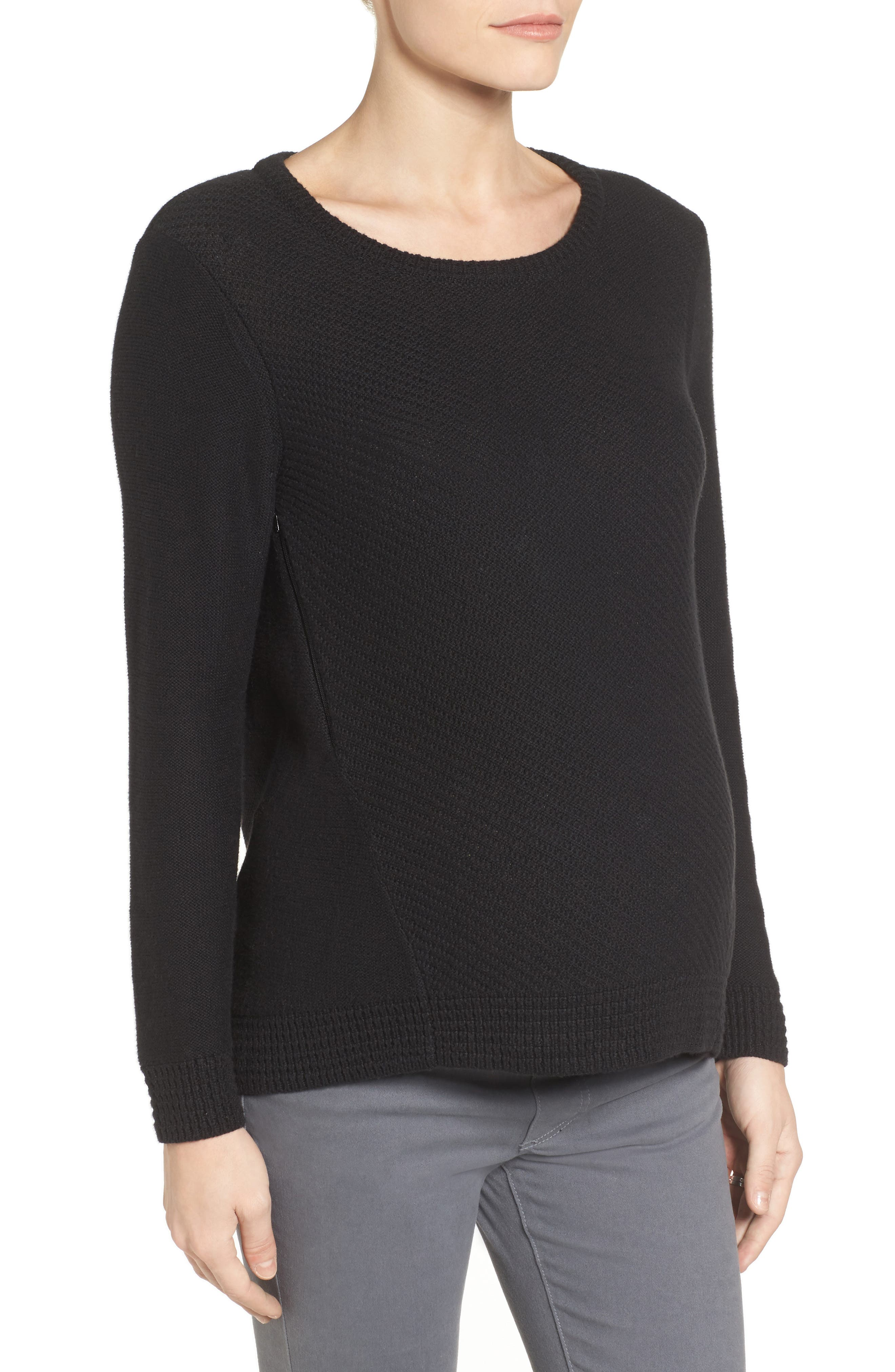 Wiley Maternity/Nursing Sweatshirt,                             Alternate thumbnail 4, color,                             BLACK