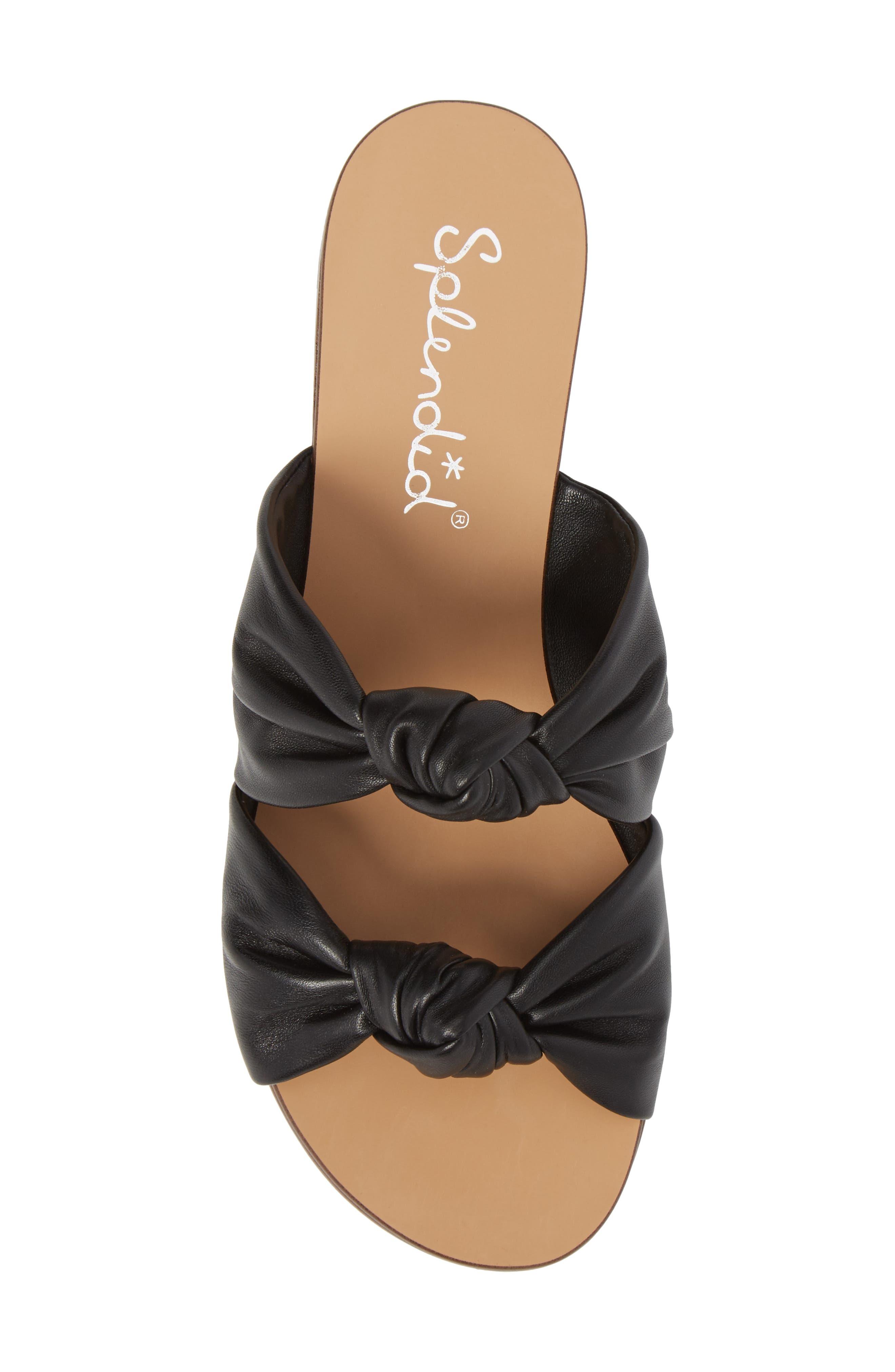 Barton Double Knotted Slide Sandal,                             Alternate thumbnail 5, color,                             BLACK LEATHER