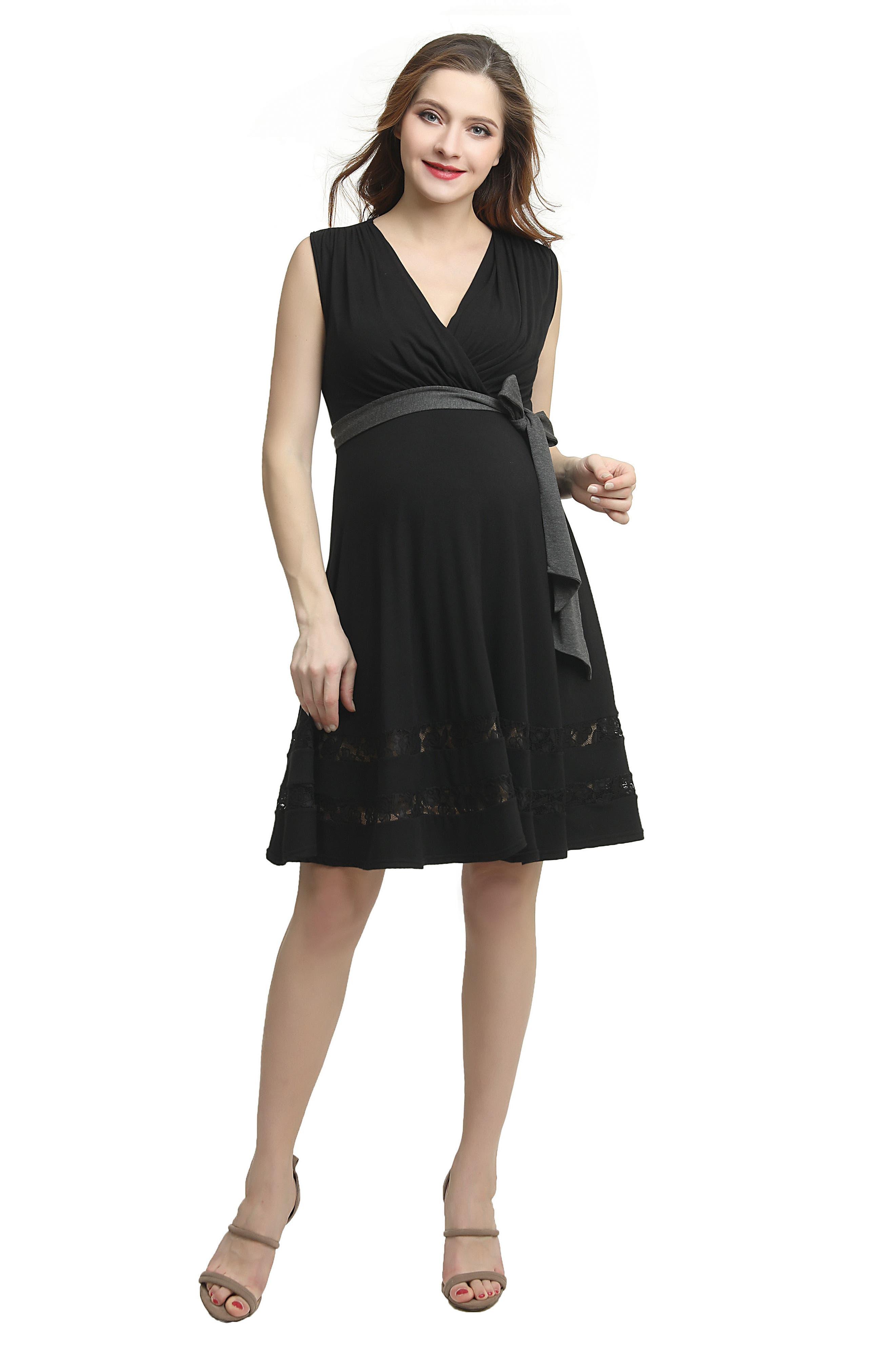 Marji Lace Accent Babydoll Maternity/Nursing Dress,                             Alternate thumbnail 5, color,                             BLACK