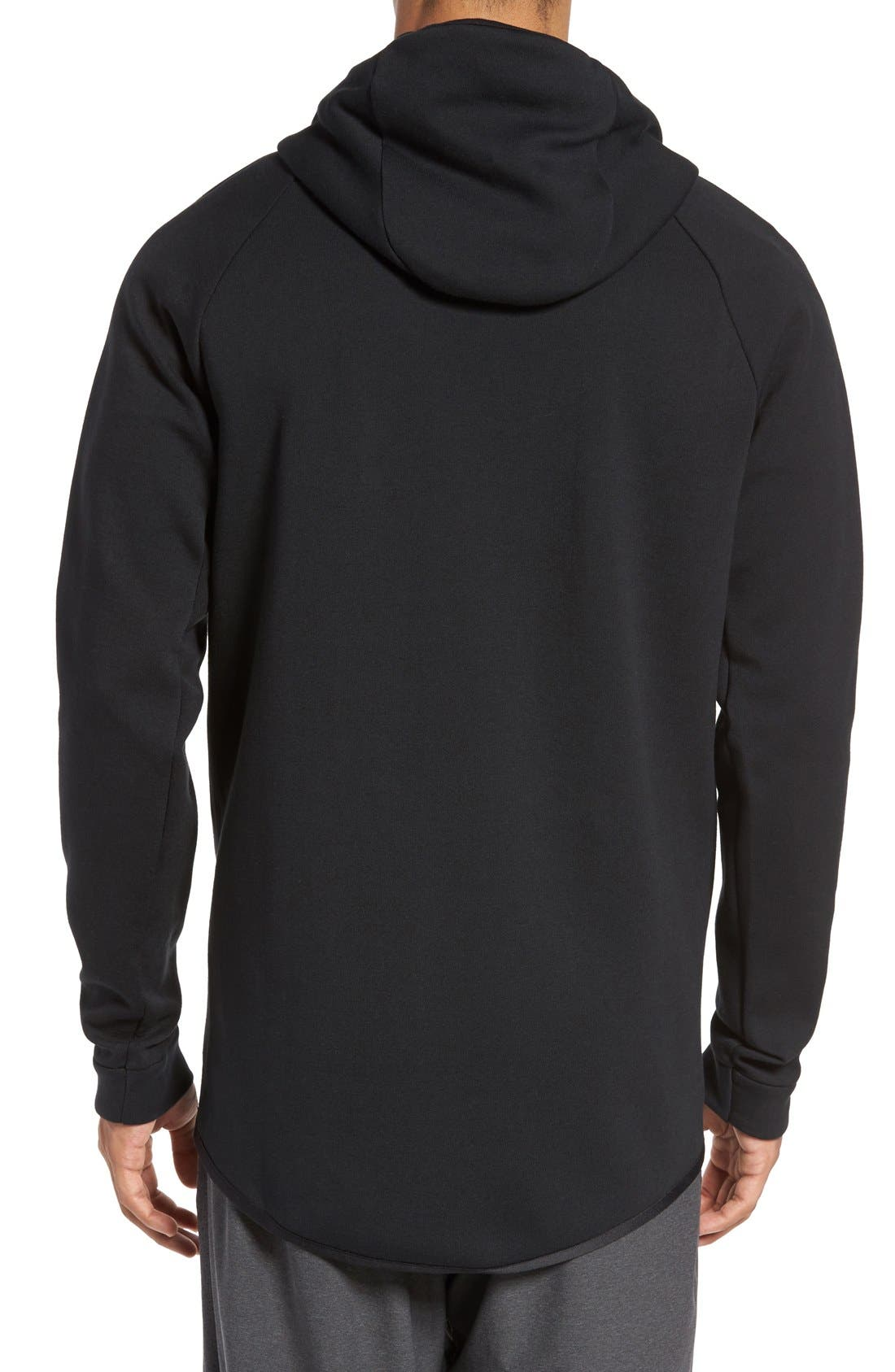 'Windrunner' Tech Fleece Hoodie,                             Alternate thumbnail 3, color,                             BLACK/ BLACK