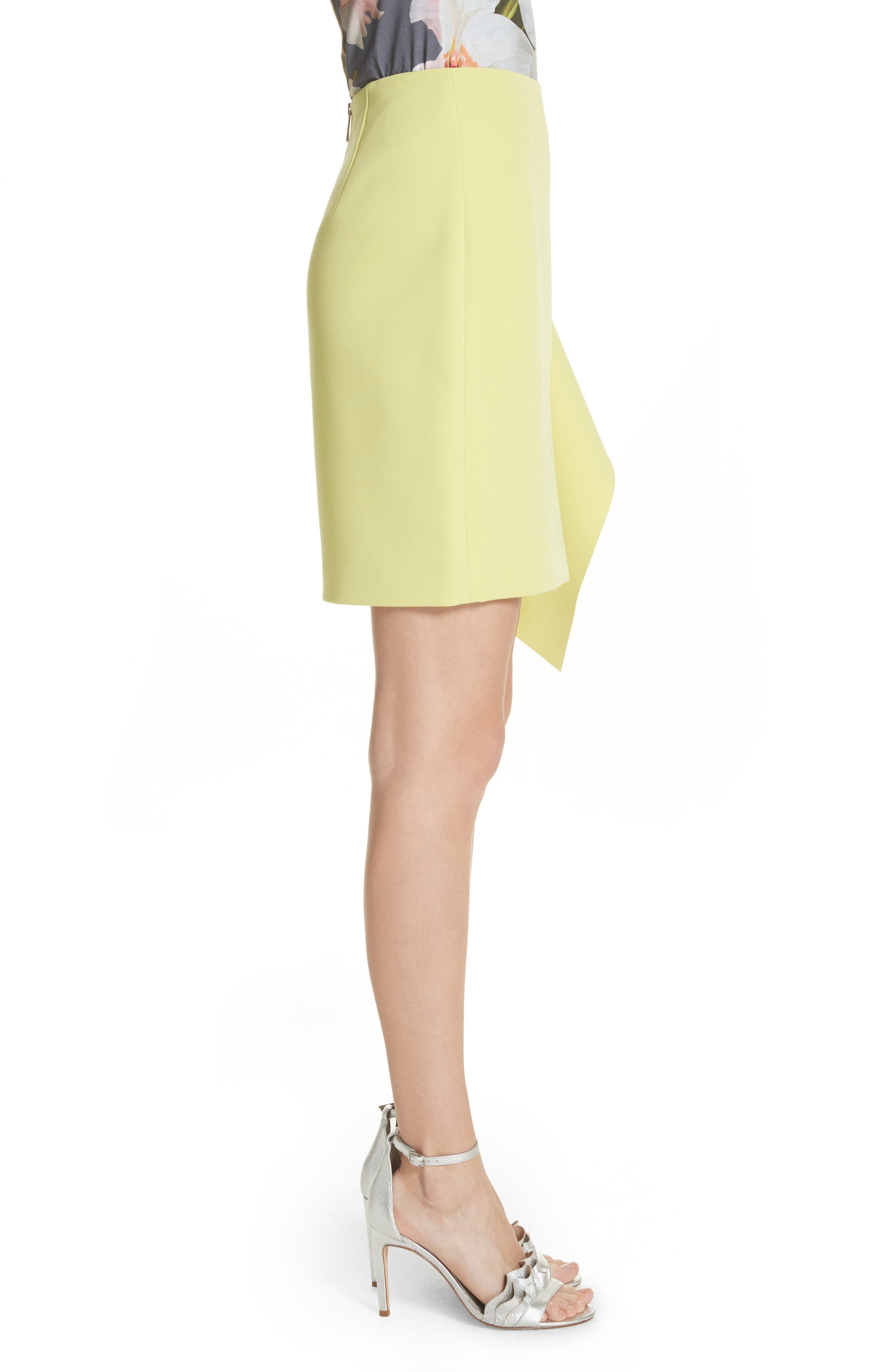Asymmetrical Frill Pencil Skirt,                             Alternate thumbnail 3, color,                             303