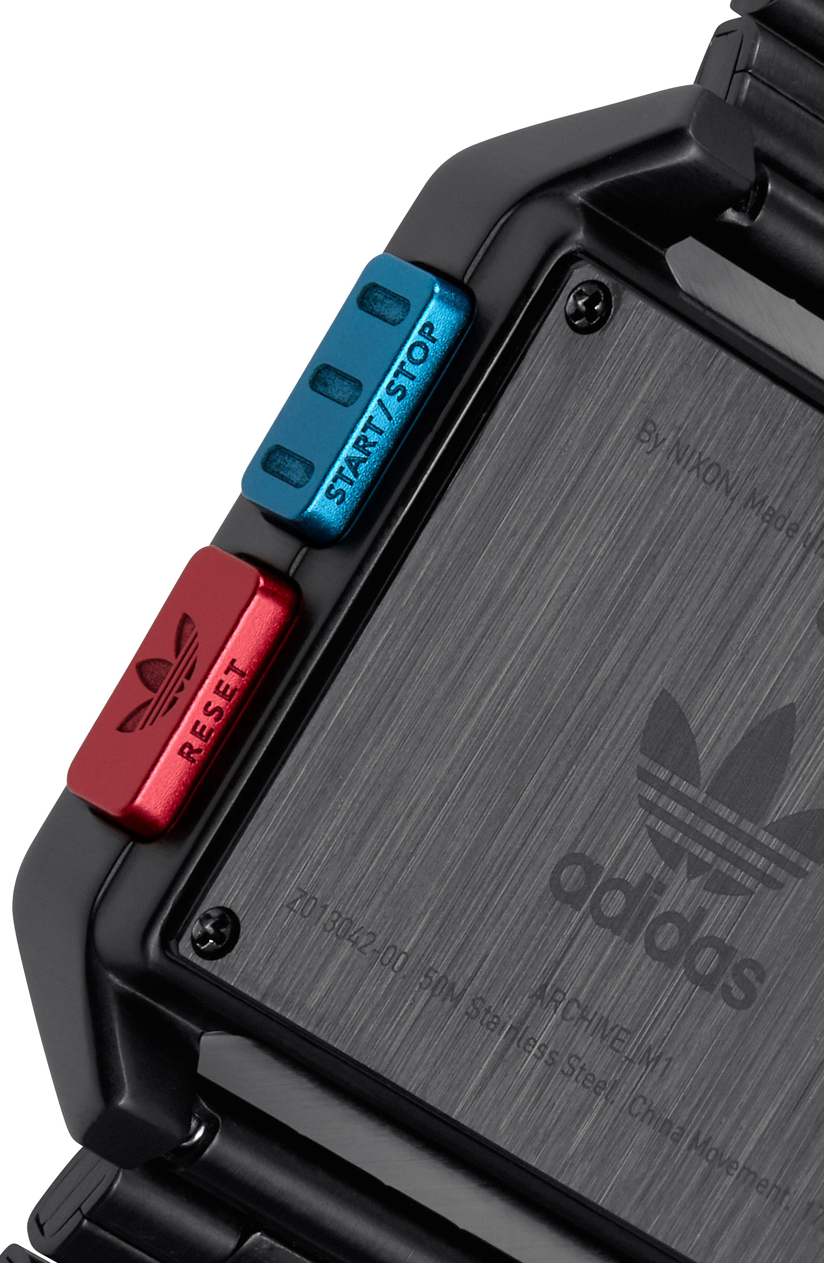Archive Digital Bracelet Watch, 36mm,                             Alternate thumbnail 4, color,                             BLACK/ BLUE/ RED