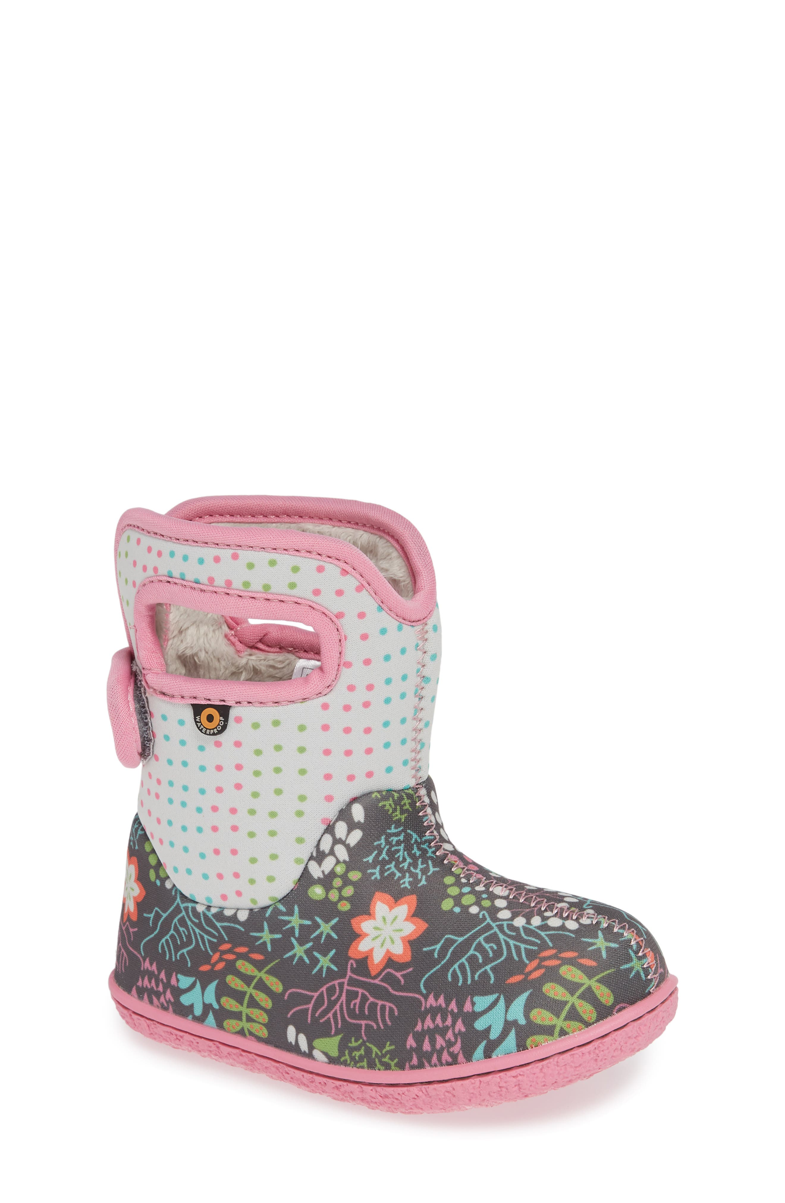 BOGS,                             Baby Bogs New Flower Dot Waterproof Boot,                             Main thumbnail 1, color,                             062