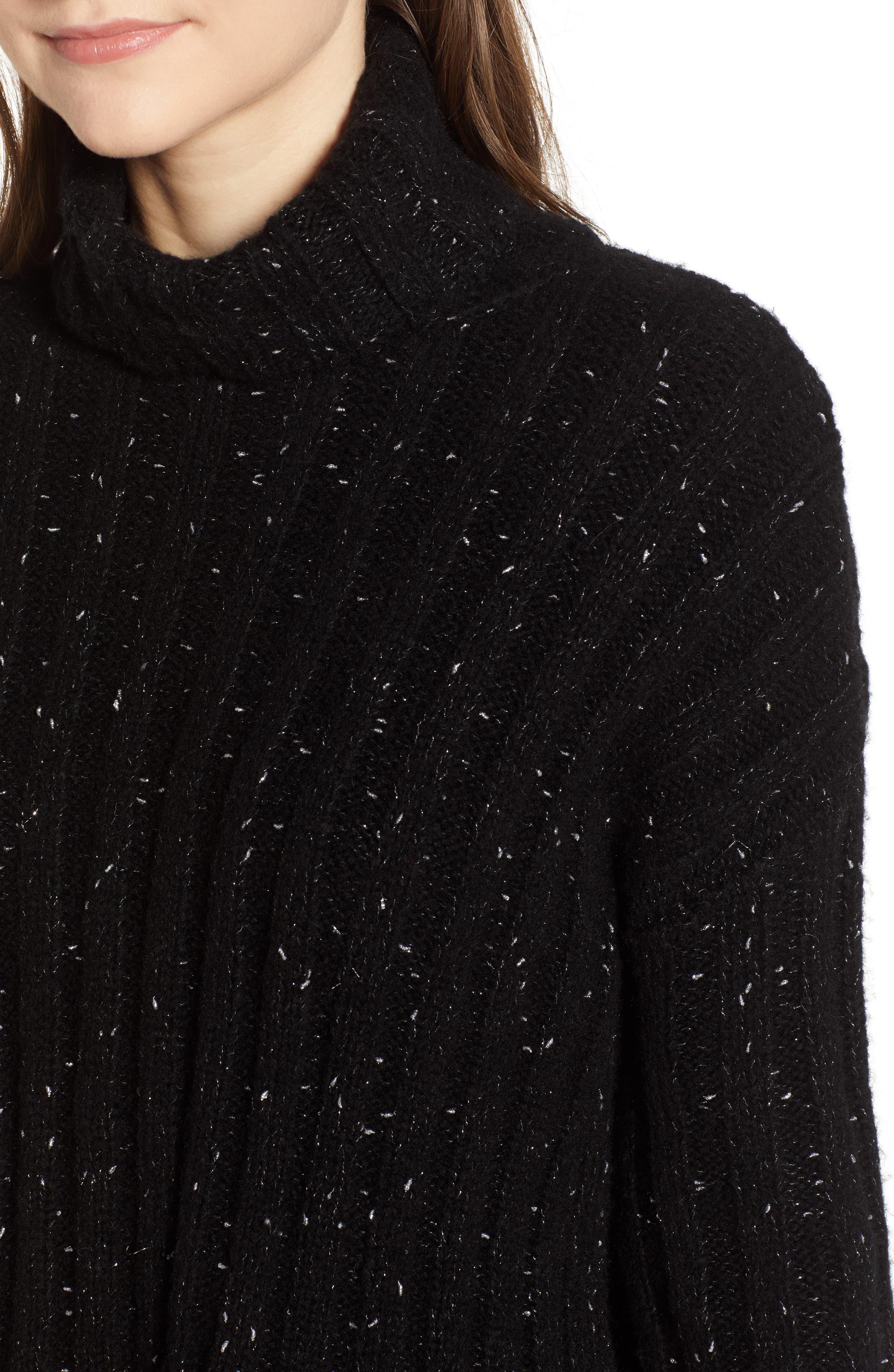 Side Slit Turtleneck Sweater,                             Alternate thumbnail 4, color,                             BLACK MIRROR