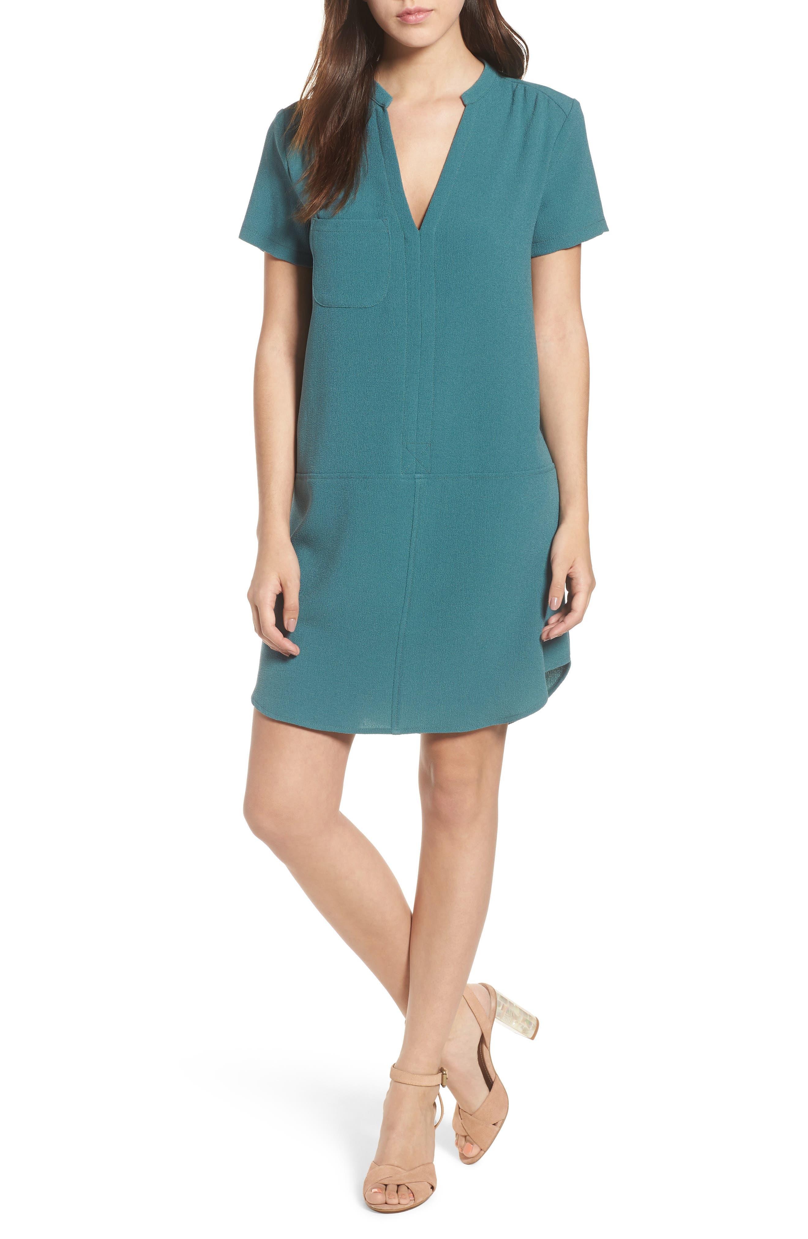 Hailey Crepe Dress,                         Main,                         color, HYDRO TEAL