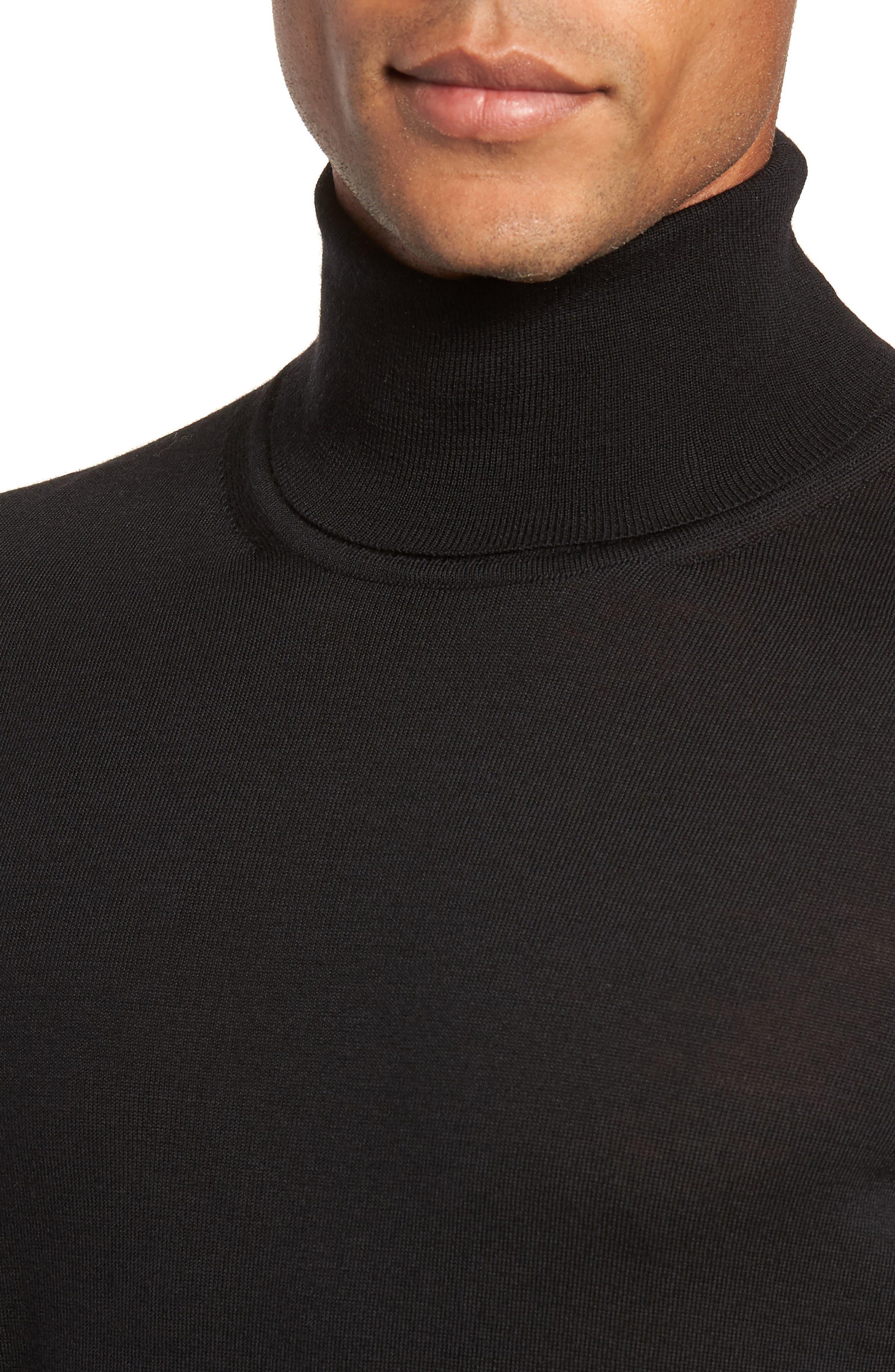Musso Slim Fit Wool Turtleneck Sweater,                             Alternate thumbnail 4, color,                             BLACK