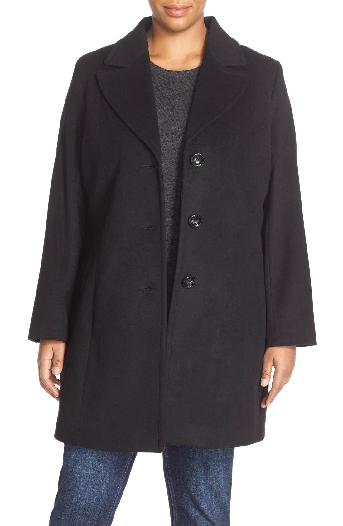 Notch Collar Wool Blend Coat, Main, color, BLACK