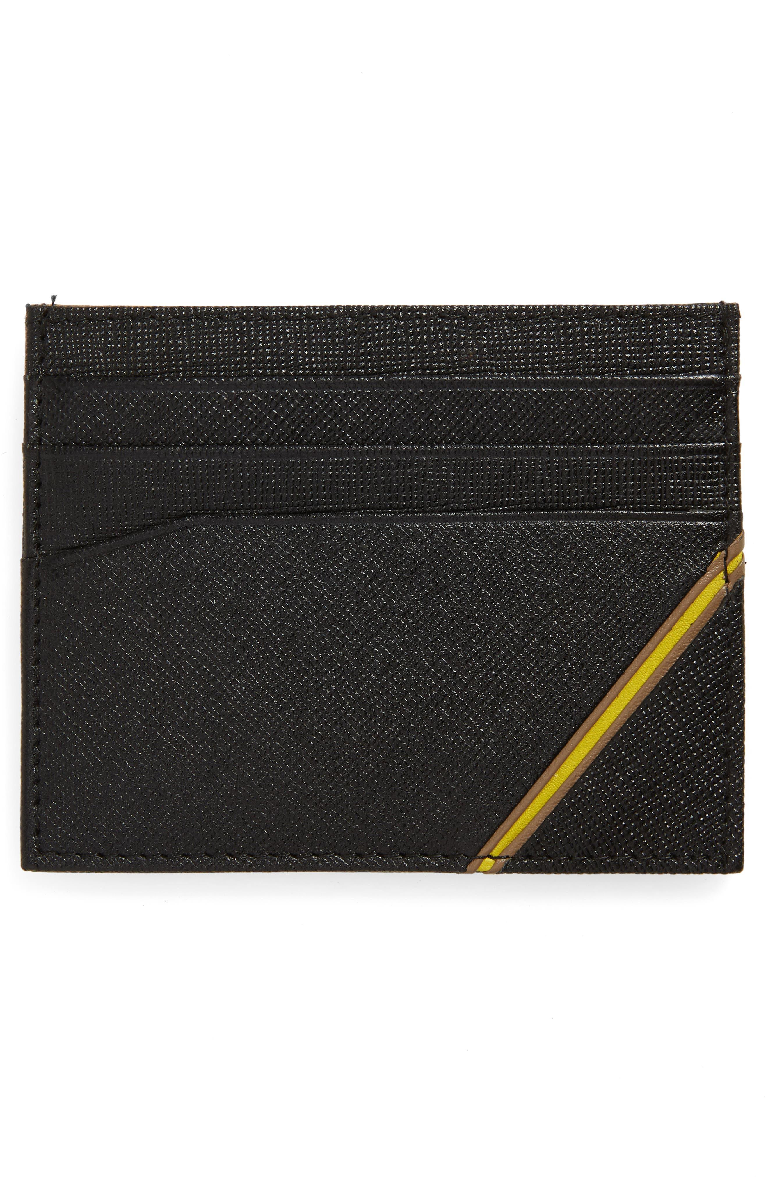 Stripe Leather Card Case,                             Alternate thumbnail 2, color,                             BLACK
