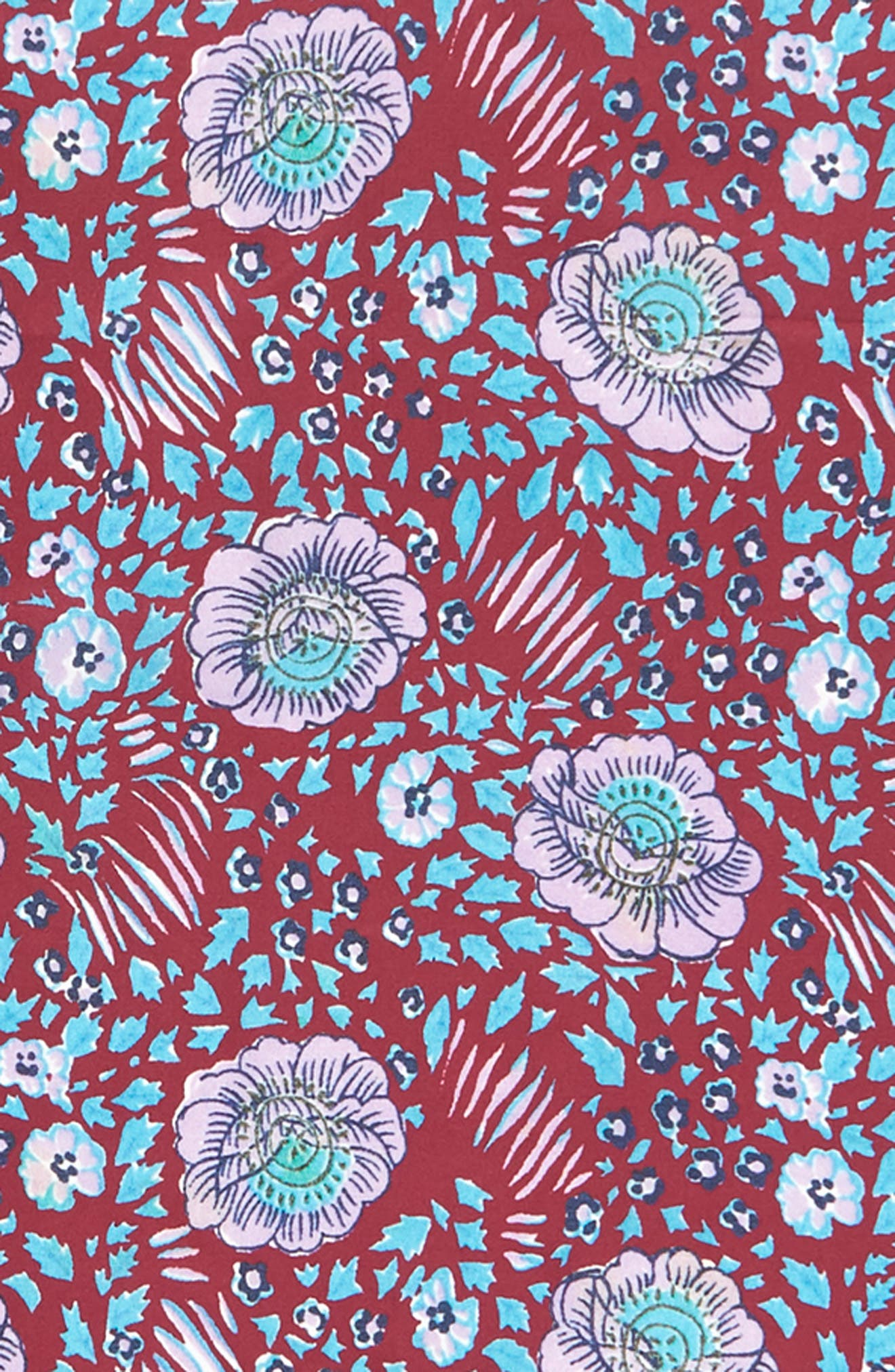 Persian Rose Square Silk Scarf,                             Alternate thumbnail 4, color,                             RED