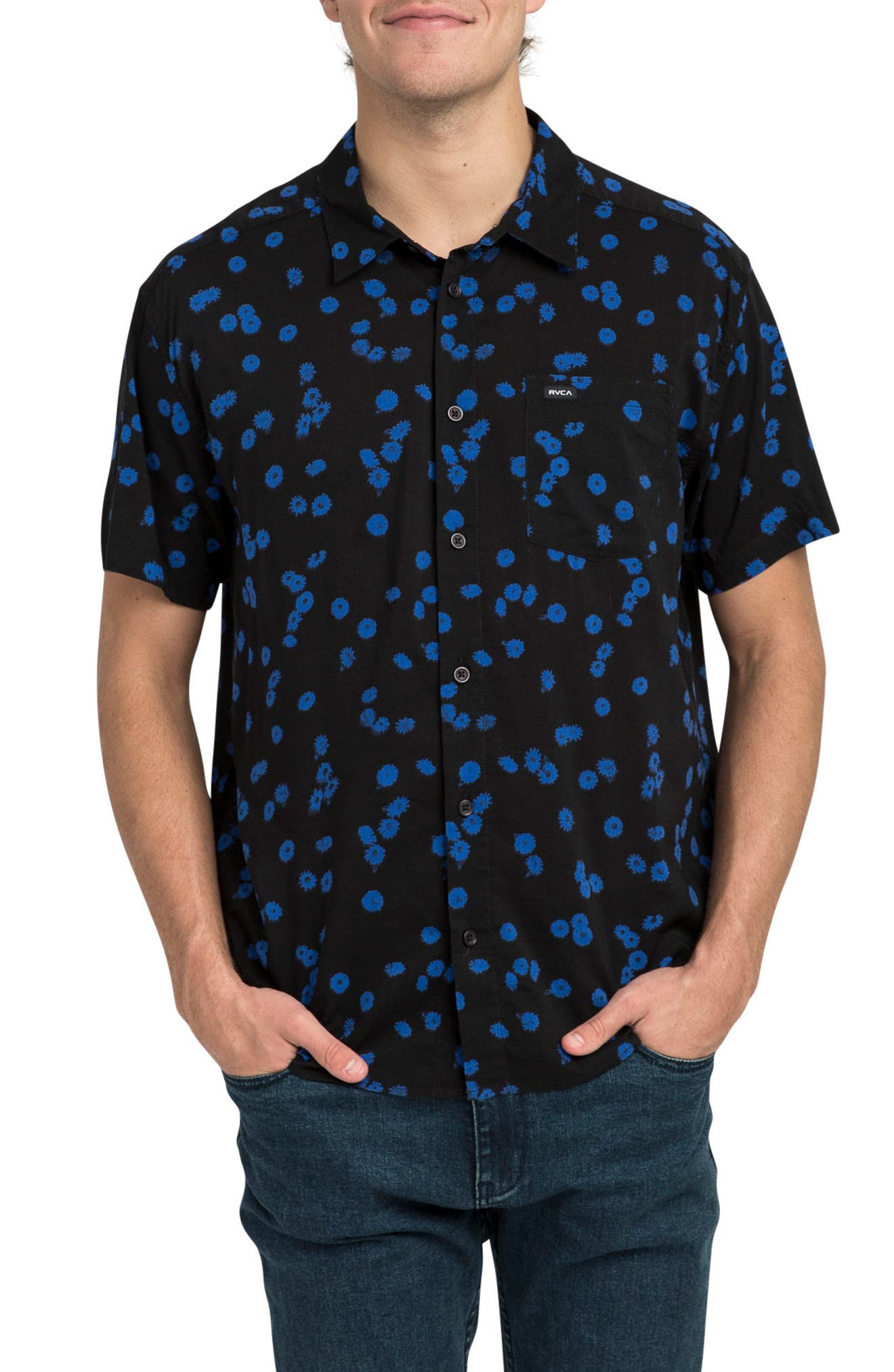 Overdye Floral Shirt,                         Main,                         color, 001