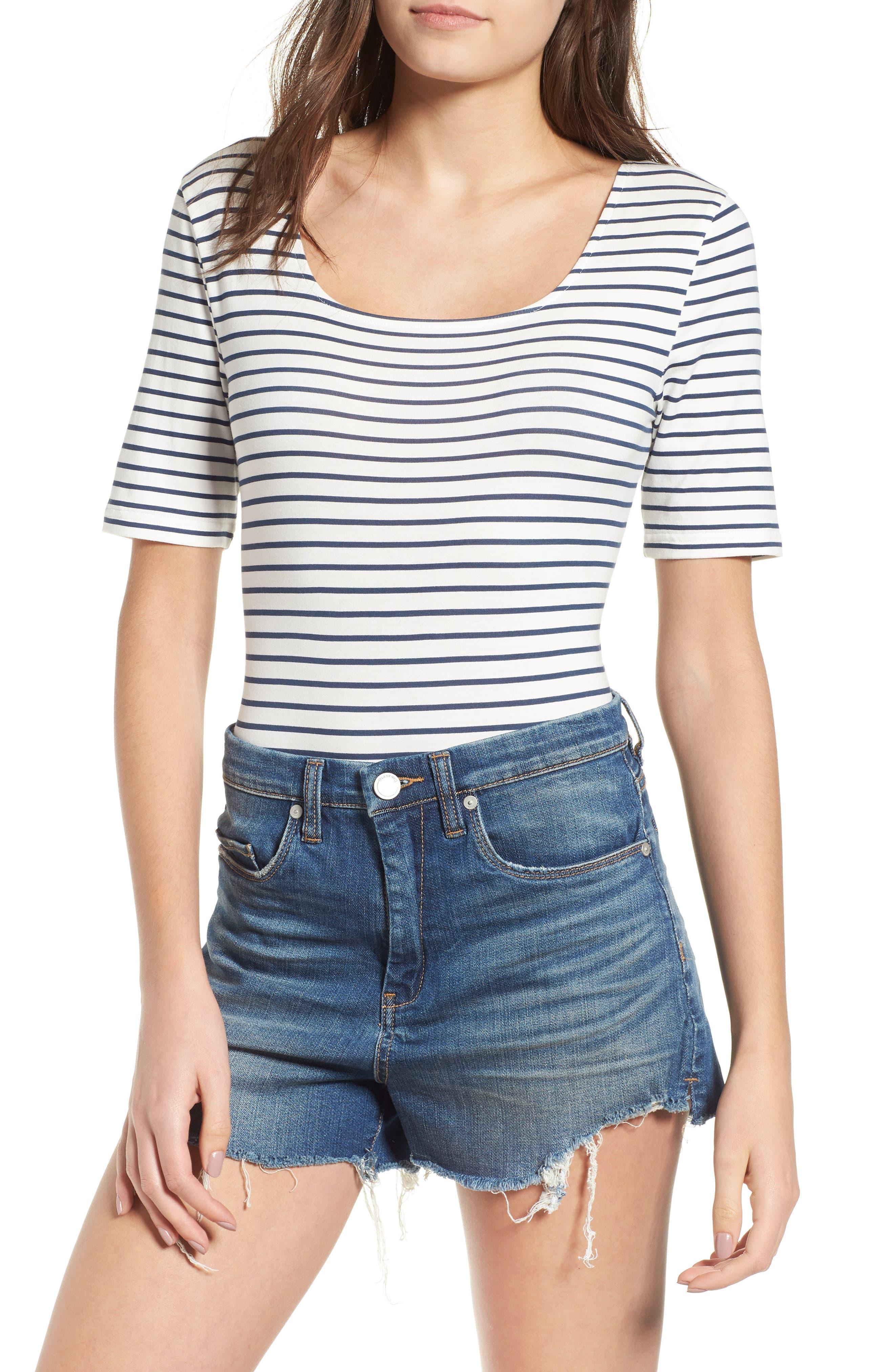 Stripe Square Neck Bodysuit,                         Main,                         color, WHITE / NAVY STRIPE
