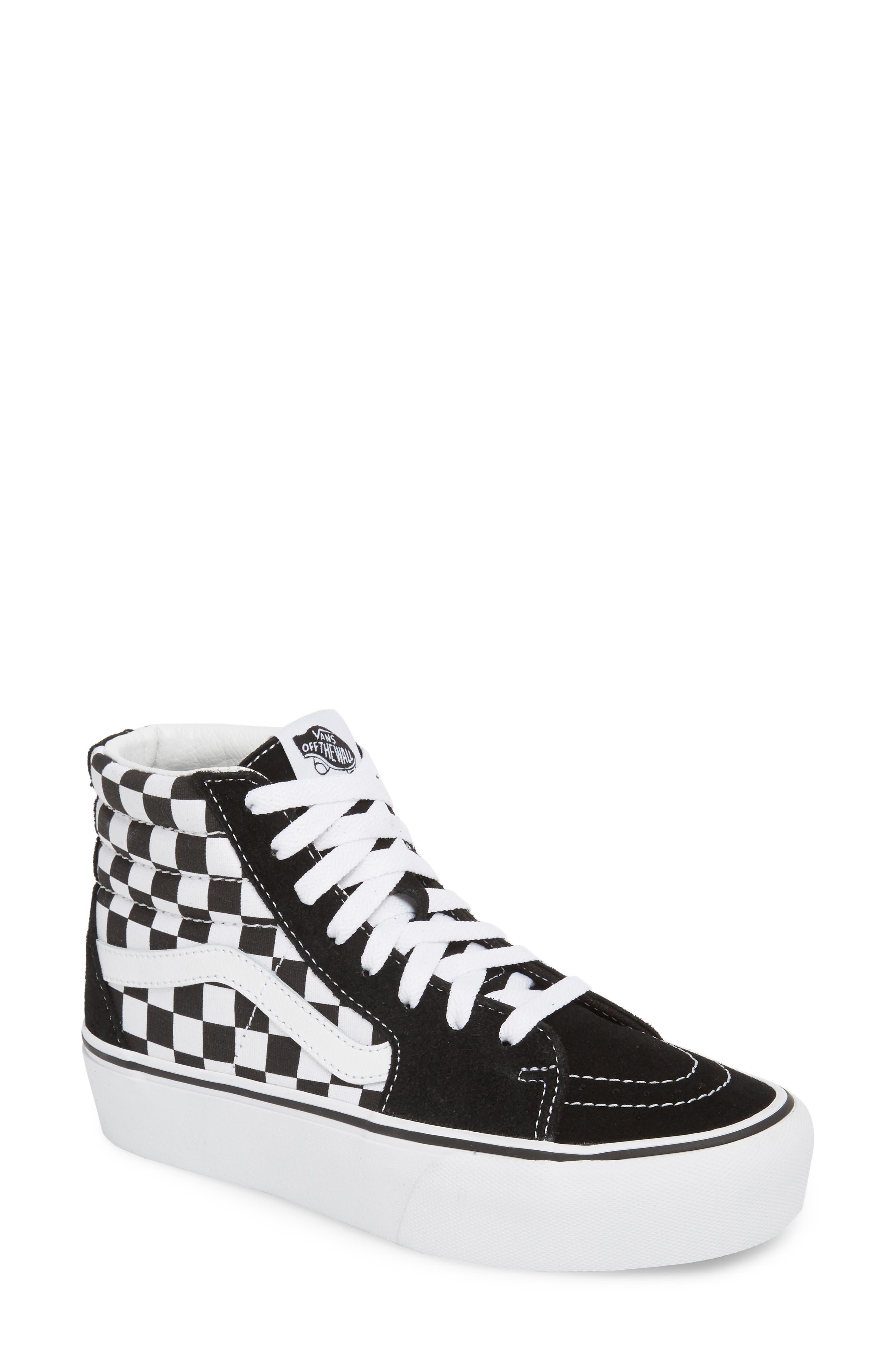 UA Sk8-Hi Platform Checkerboard Sneaker,                         Main,                         color, CHECKER BOARD/ TRUE WHITE