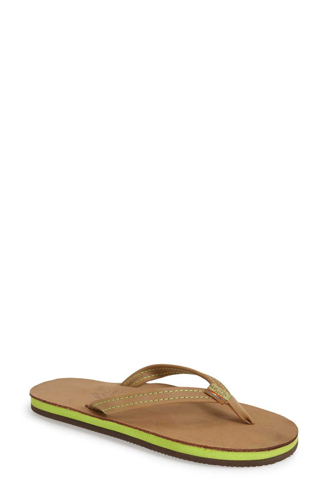 Rainbow Double Layer Thong Sandal,                             Main thumbnail 1, color,                             320