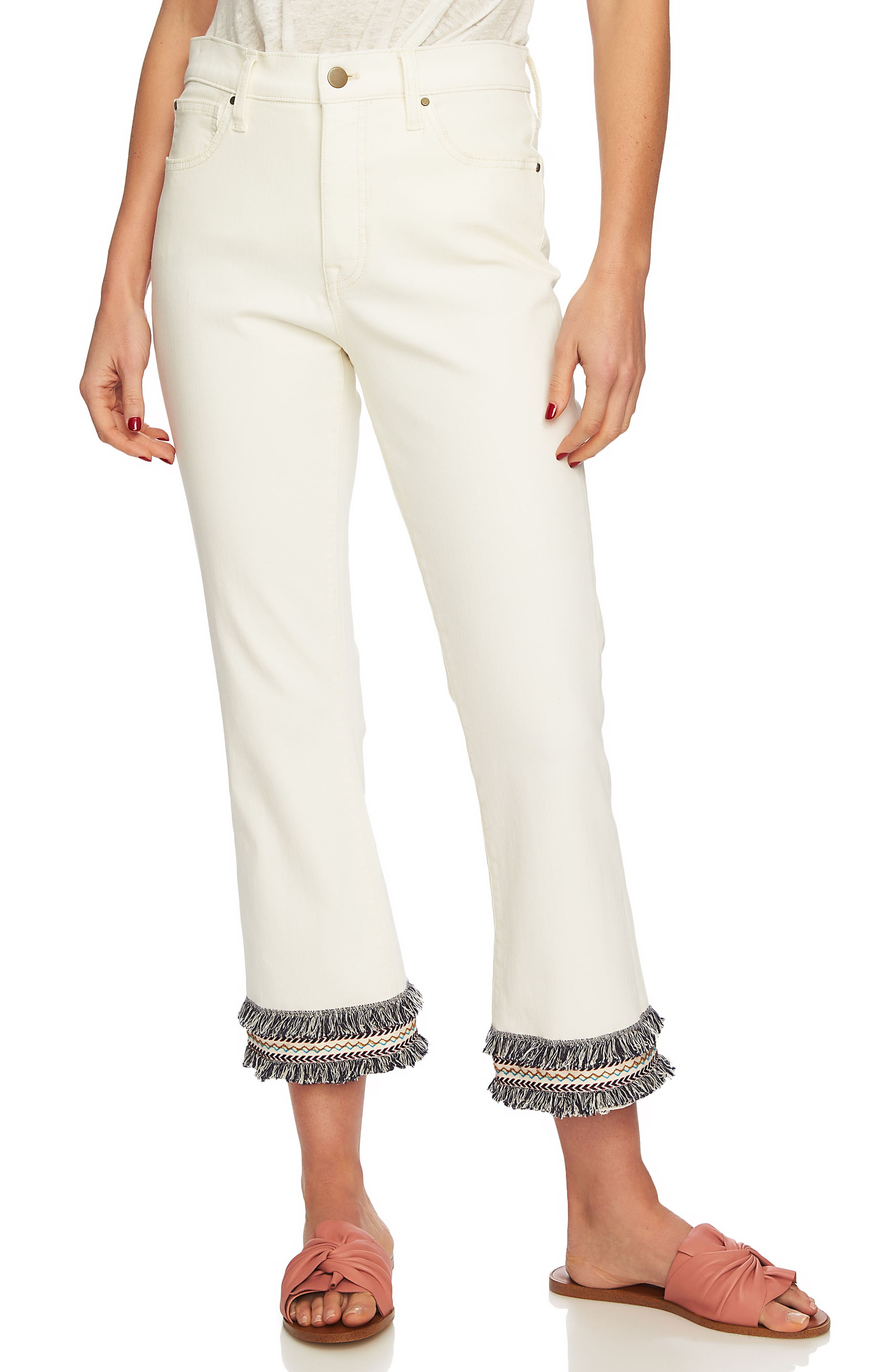 High Waist Embroidered Hem Crop Jeans,                         Main,                         color, ANTIQUE WHITE