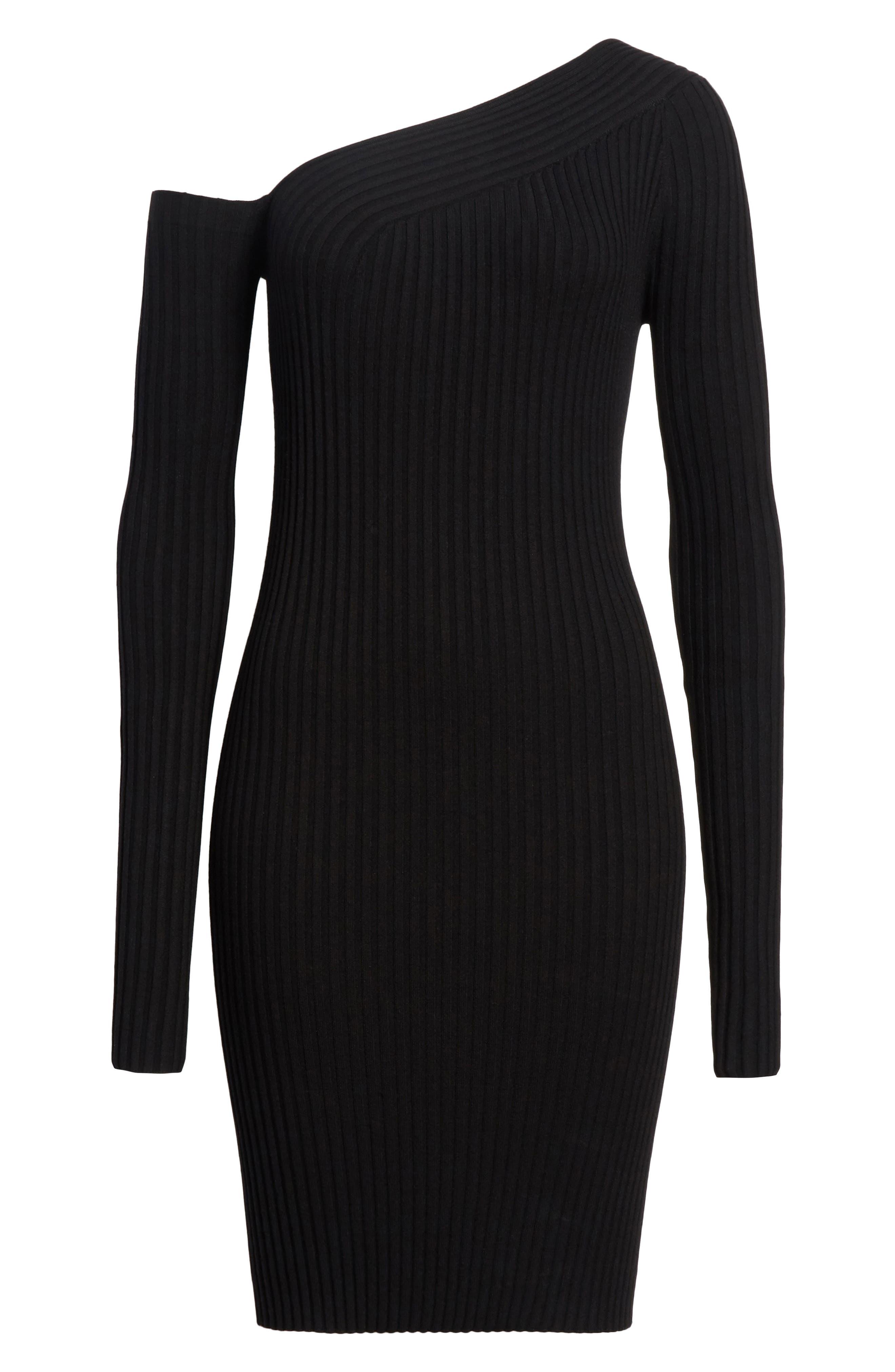 Knit Stretch Silk One-Shoulder Dress,                             Alternate thumbnail 6, color,                             001
