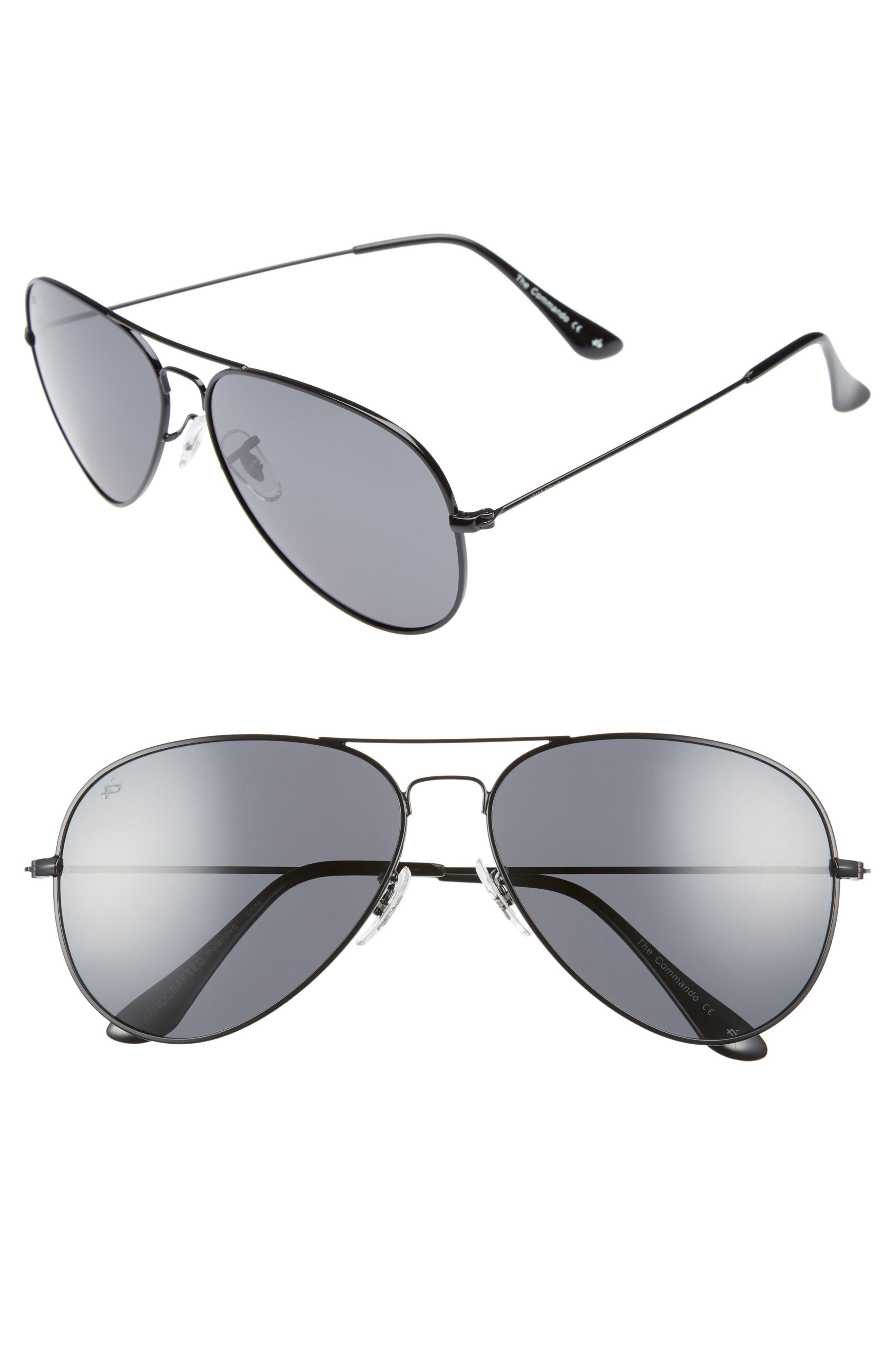 The Commando 60mm Aviator Sunglasses,                         Main,                         color, 001