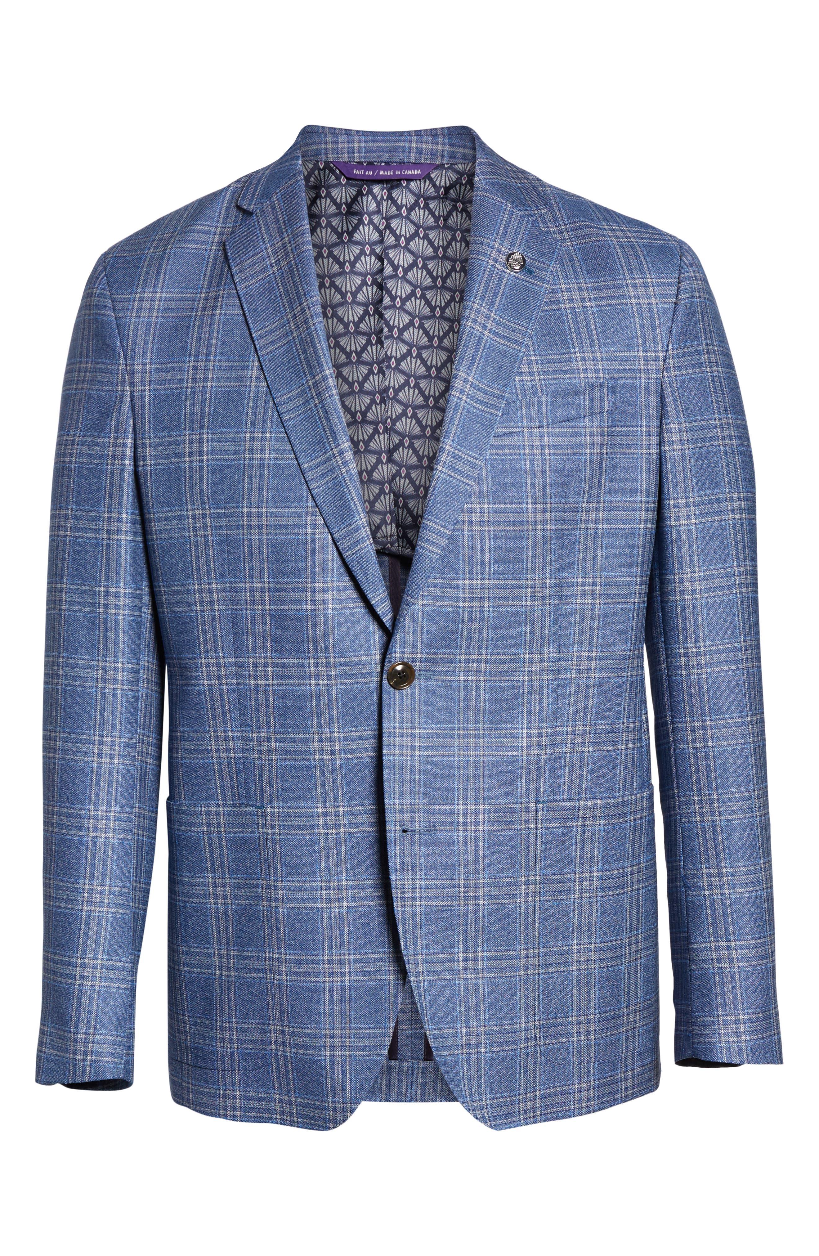 Kyle Trim Fit Plaid Wool Sport Coat,                             Alternate thumbnail 5, color,                             LIGHT BLUE