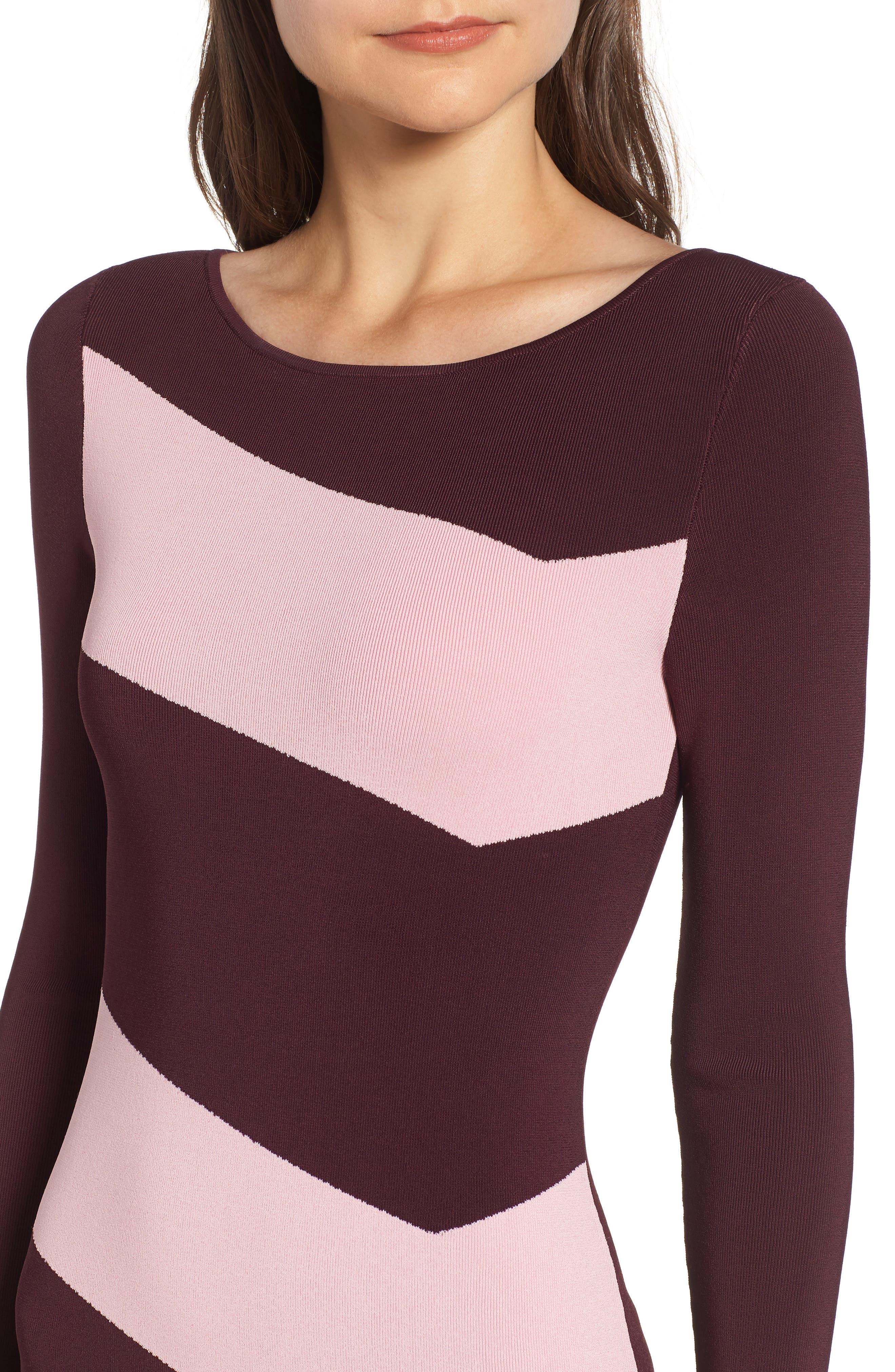 Bold Stripe Body-Con Dress,                             Alternate thumbnail 4, color,                             BURGUNDY STEM COMBO