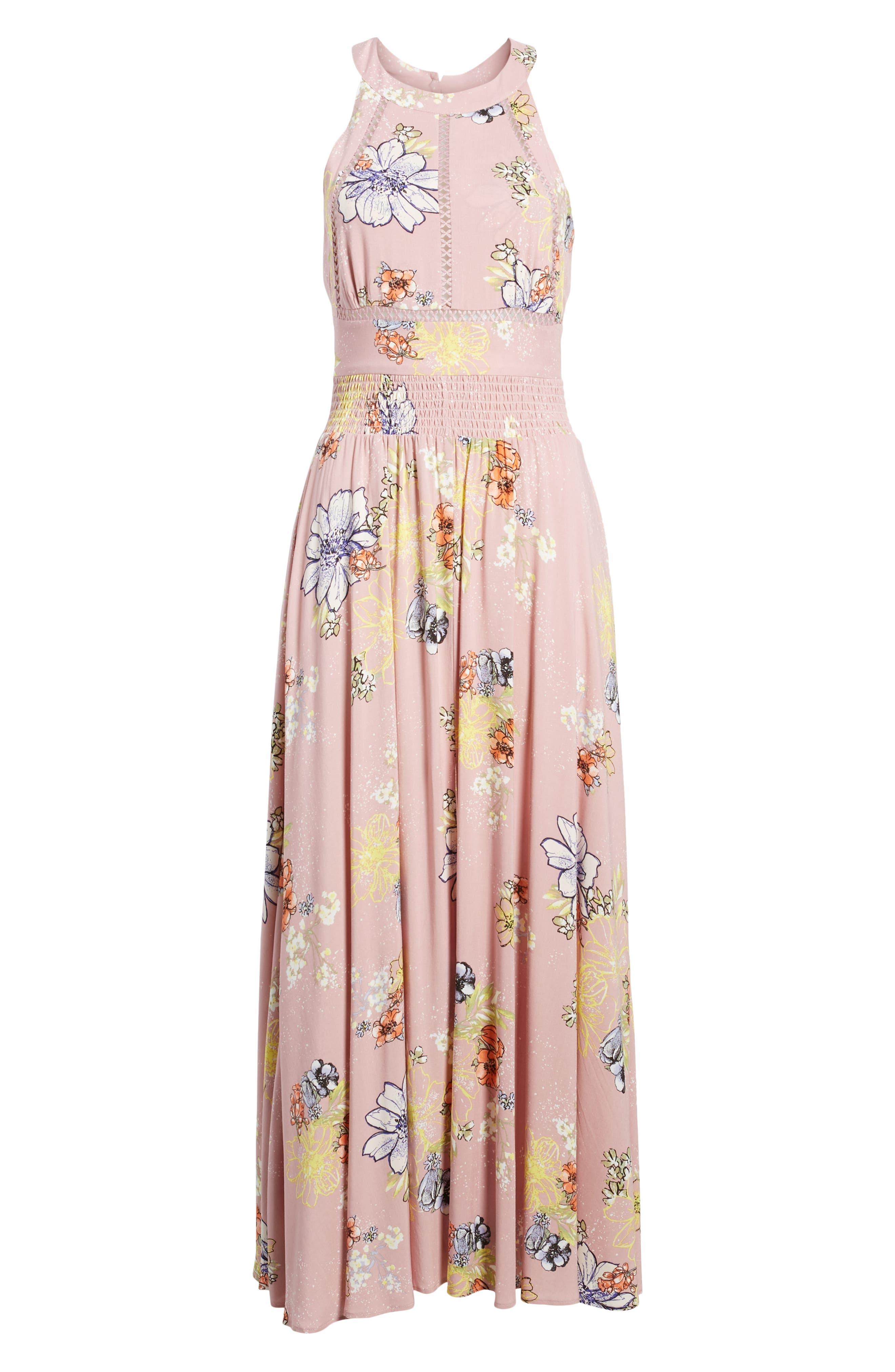 Floral Print Halter Maxi Dress,                             Alternate thumbnail 7, color,                             PINK EGRET ABSTRACT FLORAL