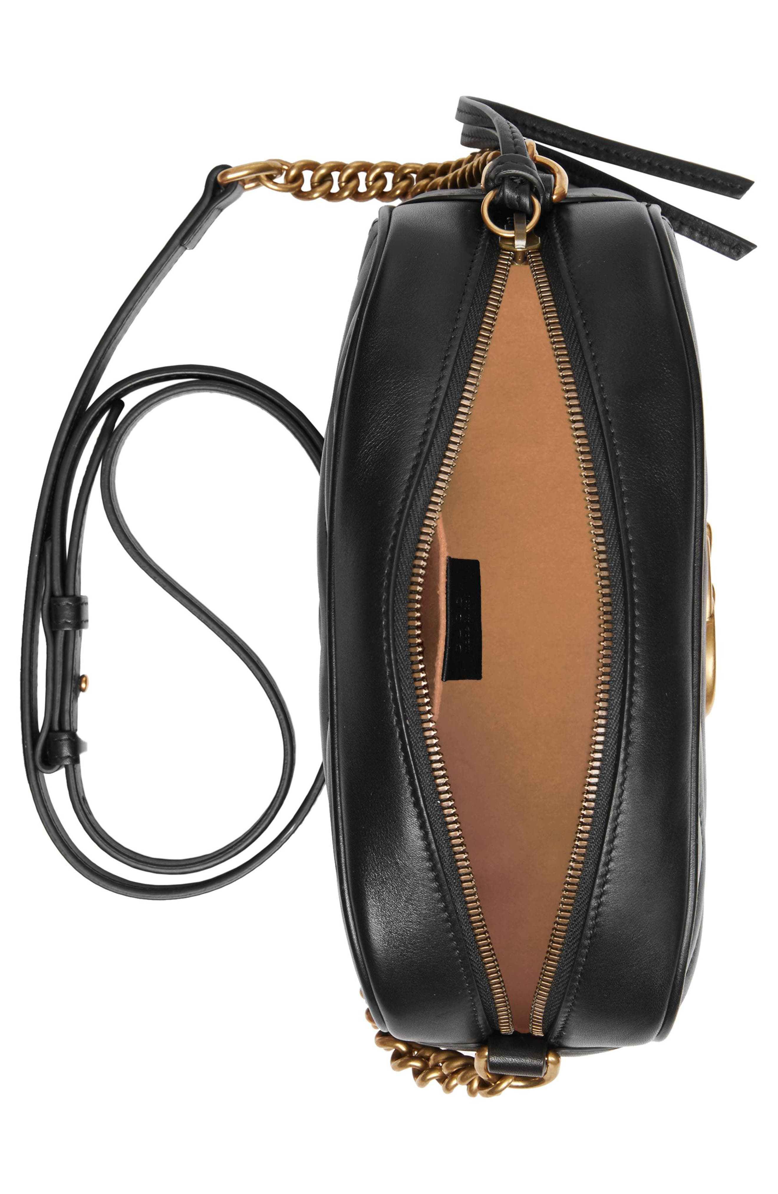 Small GG Marmont 2.0 Matelassé Leather Camera Bag,                             Alternate thumbnail 3, color,                             NERO/ NERO