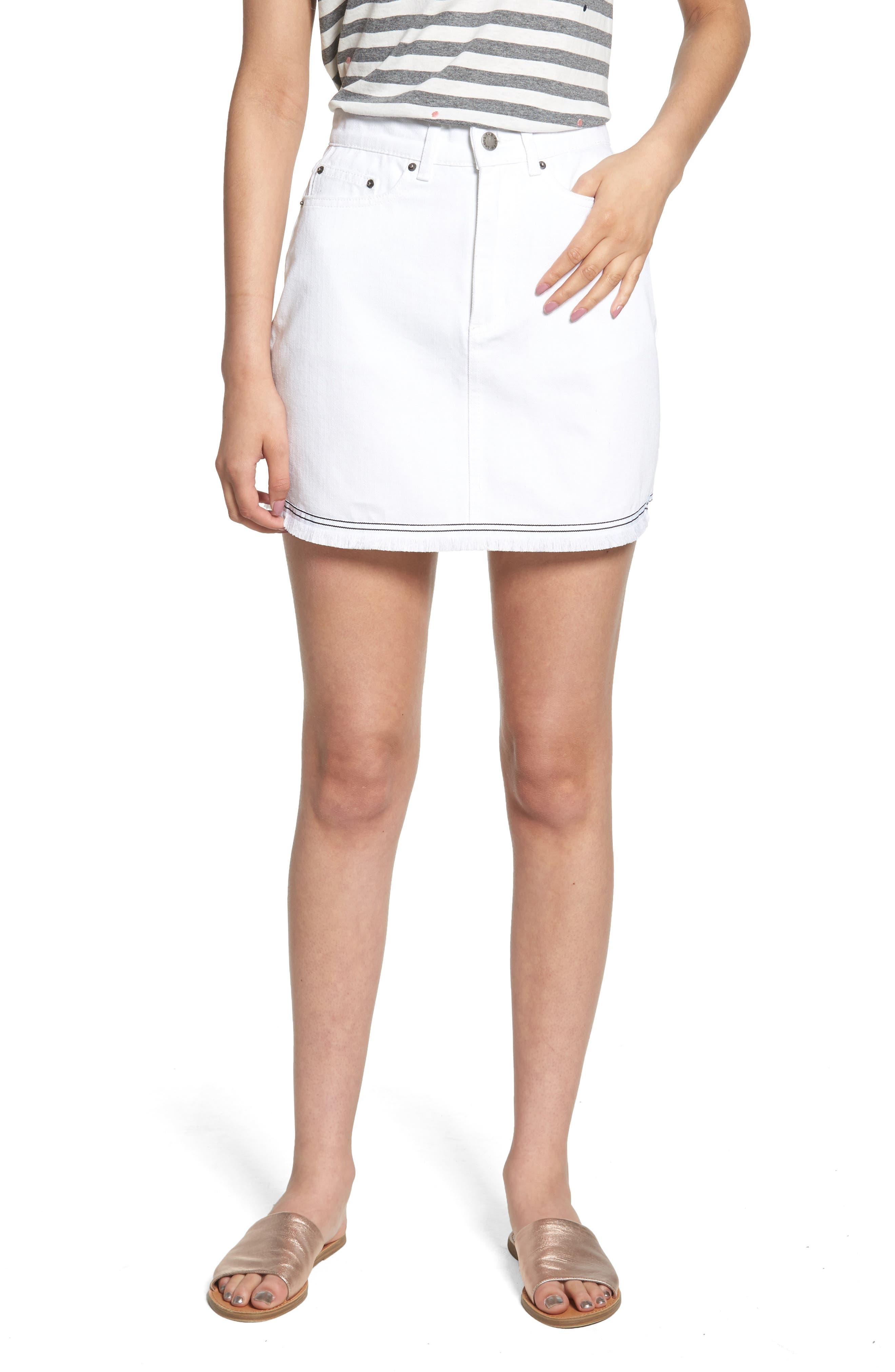 THE FIFTH LABEL,                             Social Fray Hem Denim Miniskirt,                             Main thumbnail 1, color,                             100