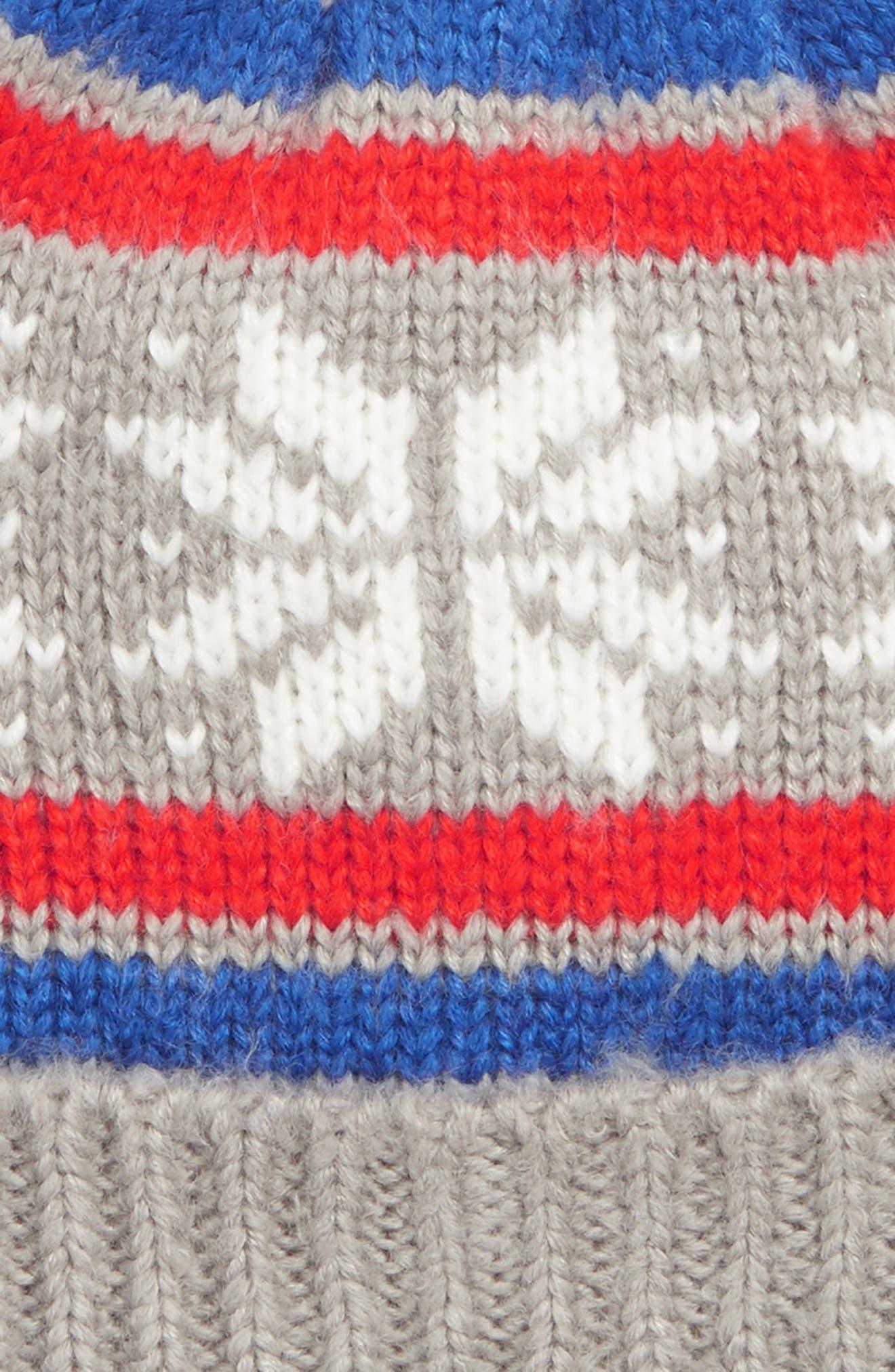 Fair Isle Knit Hat,                             Alternate thumbnail 2, color,                             GRY GREY MARL