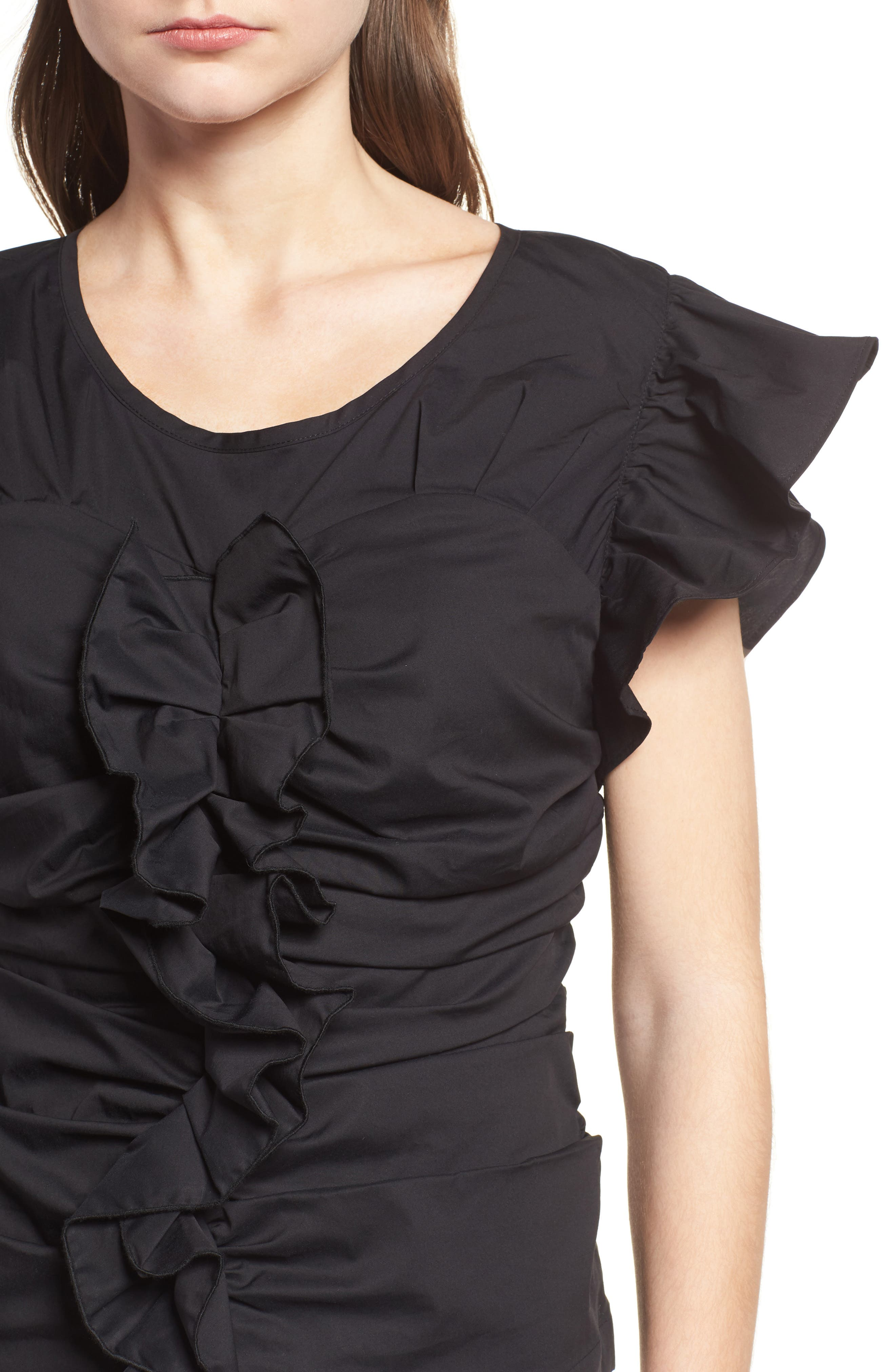 Ruched Poplin Top,                             Alternate thumbnail 4, color,                             001