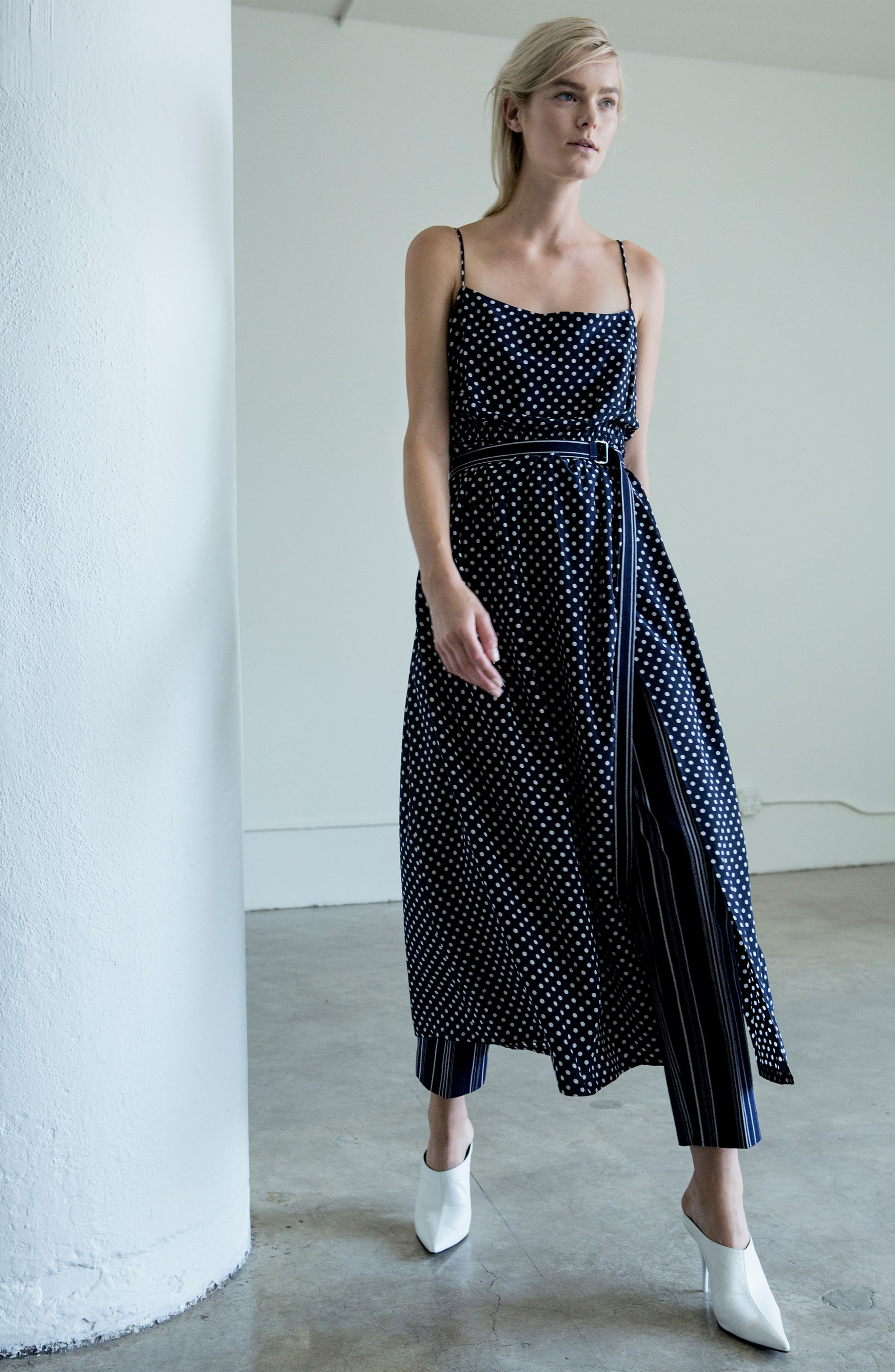 Polka Dot Midi Dress,                             Alternate thumbnail 7, color,                             410