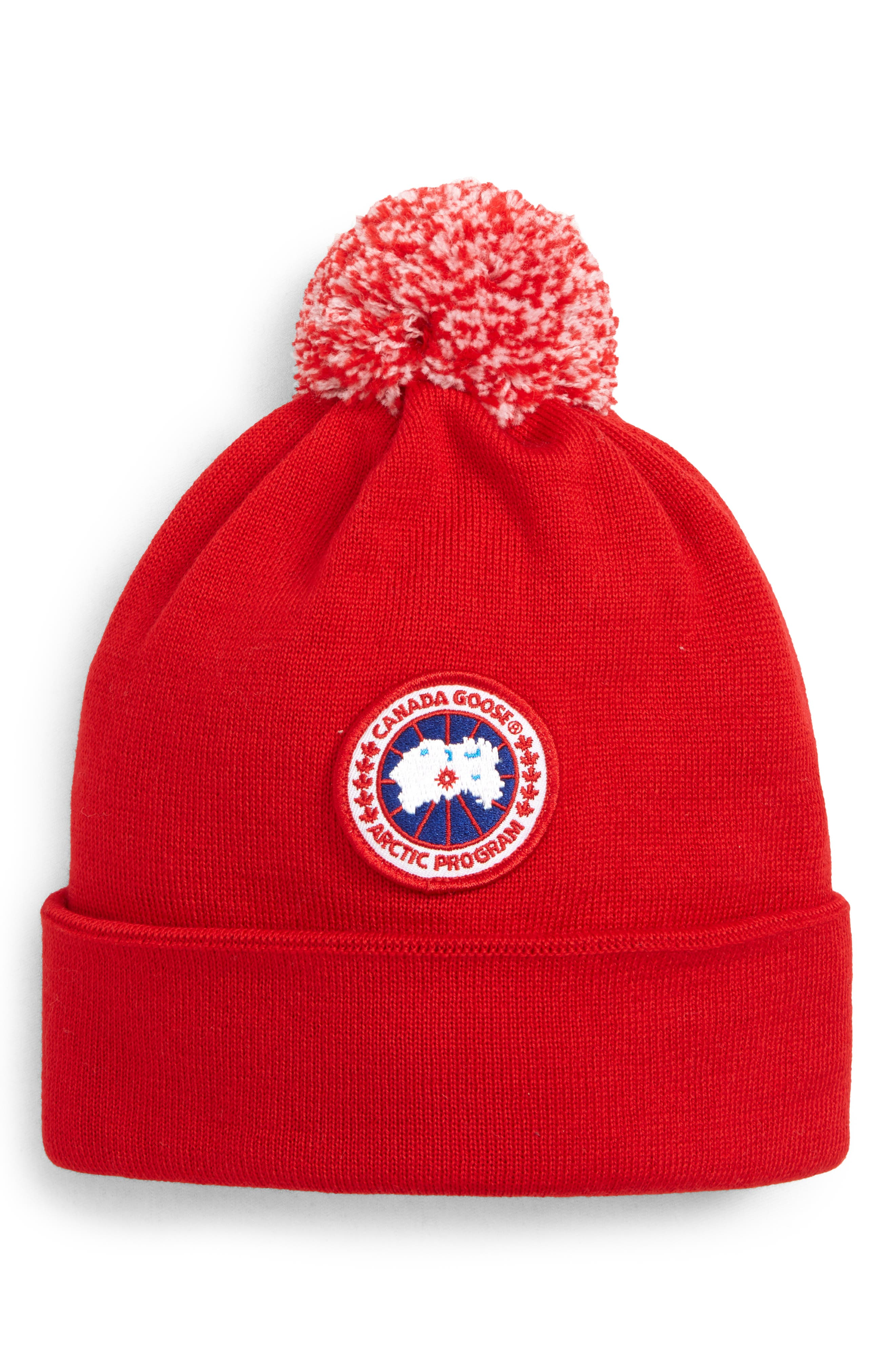 Wool Pom Toque,                             Main thumbnail 1, color,                             RED