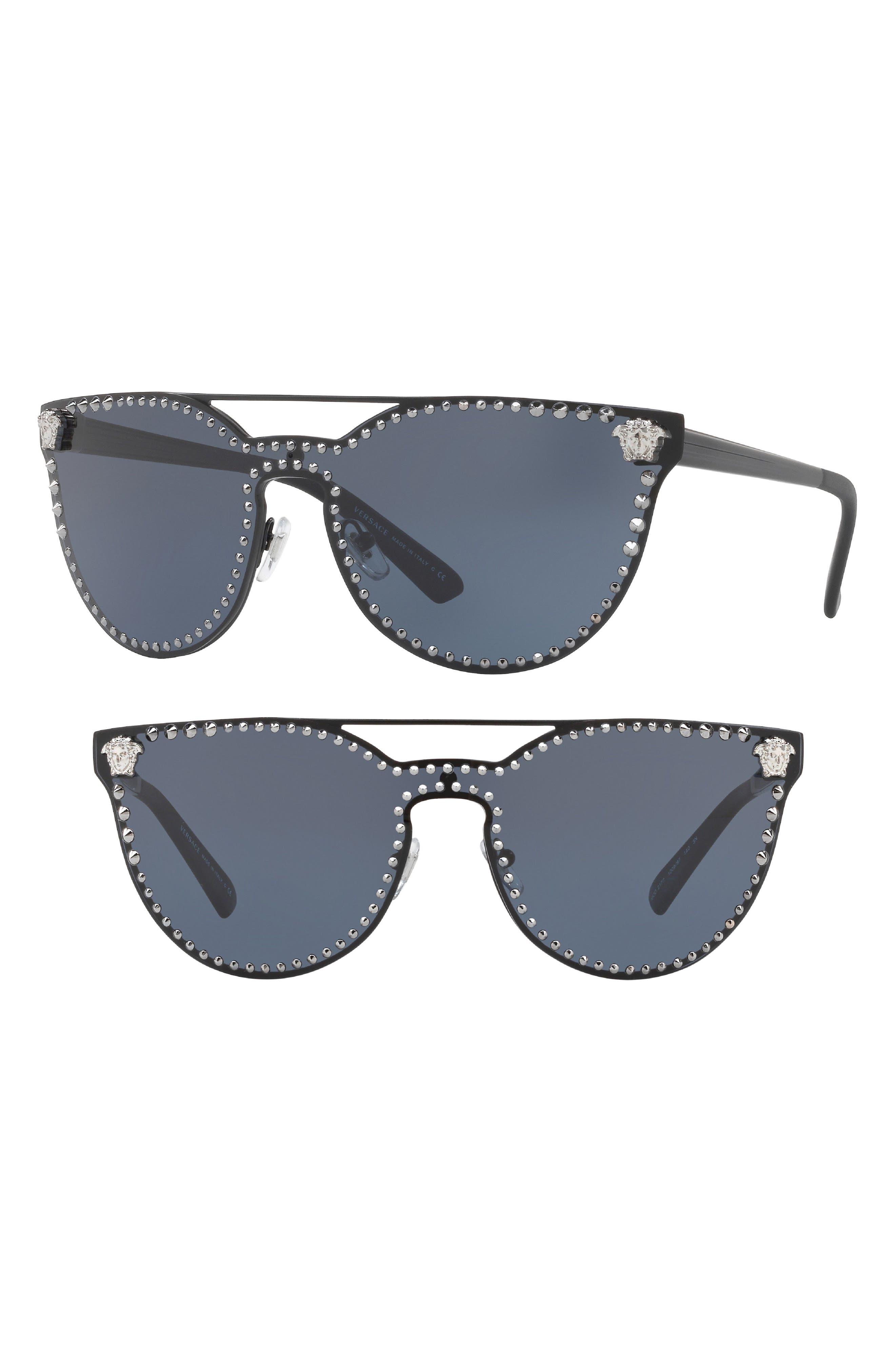 Medusa Stud 145mm Shield Sunglasses,                         Main,                         color, MATTE BLACK SOLID