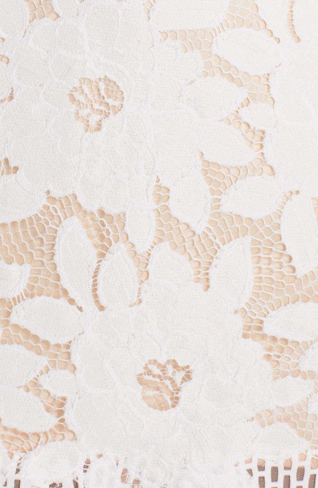Lace & Cutout Neoprene Sheath Dress,                             Alternate thumbnail 6, color,                             904