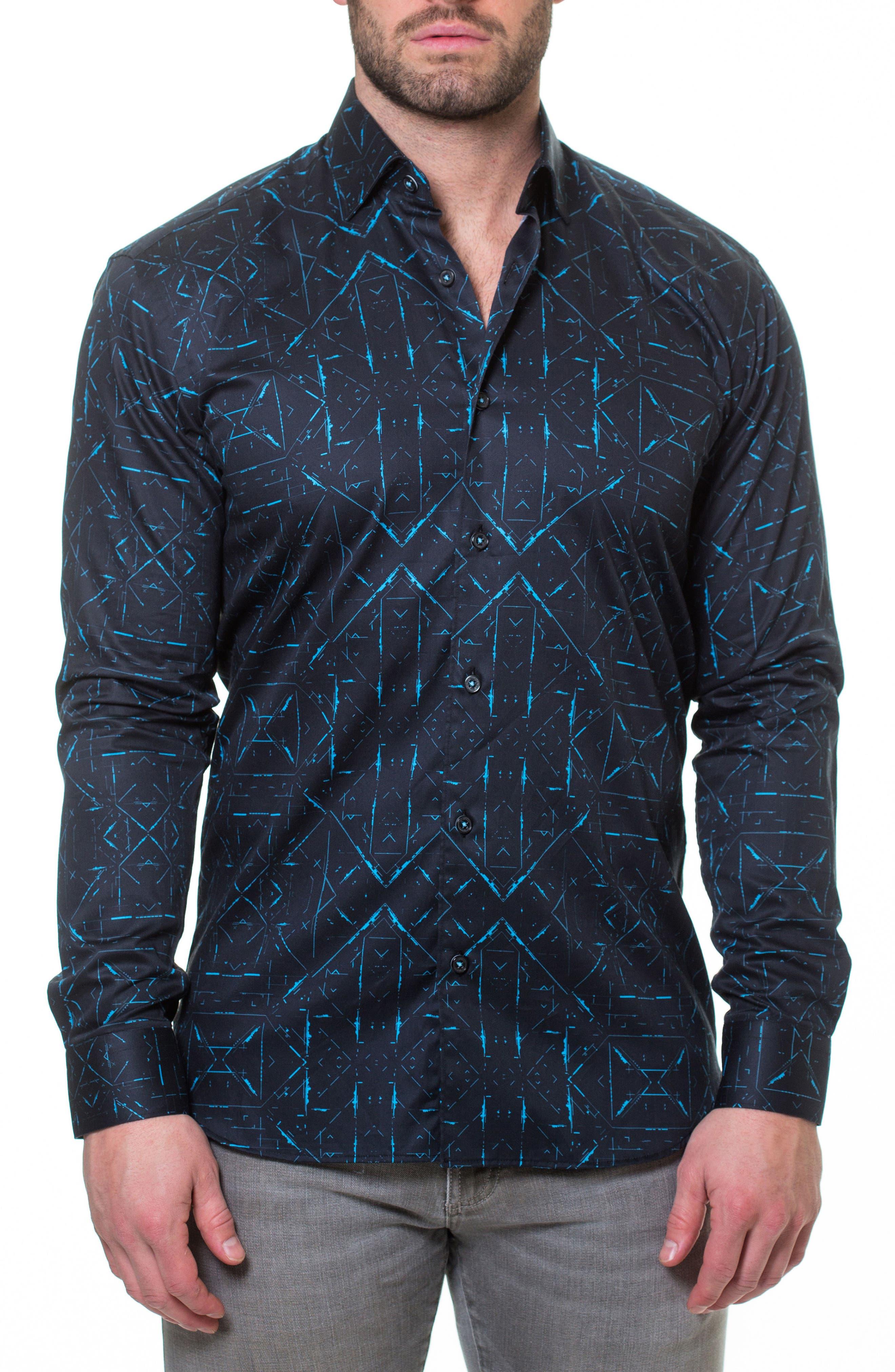 MACEOO,                             Luxor Sketch Black Slim Fit Sport Shirt,                             Alternate thumbnail 4, color,                             007