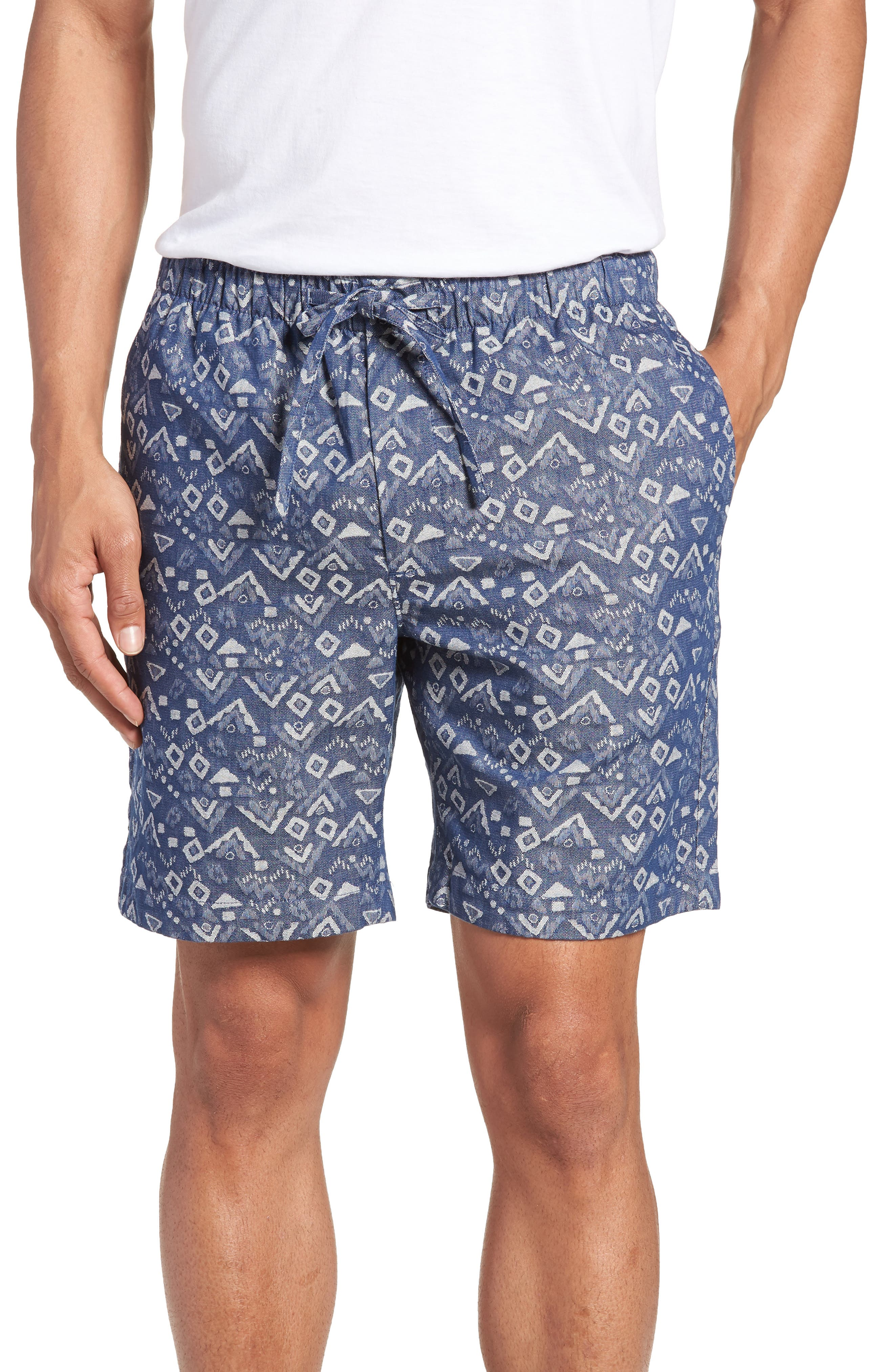 Slim Fit Print Beach Shorts,                         Main,                         color, 400