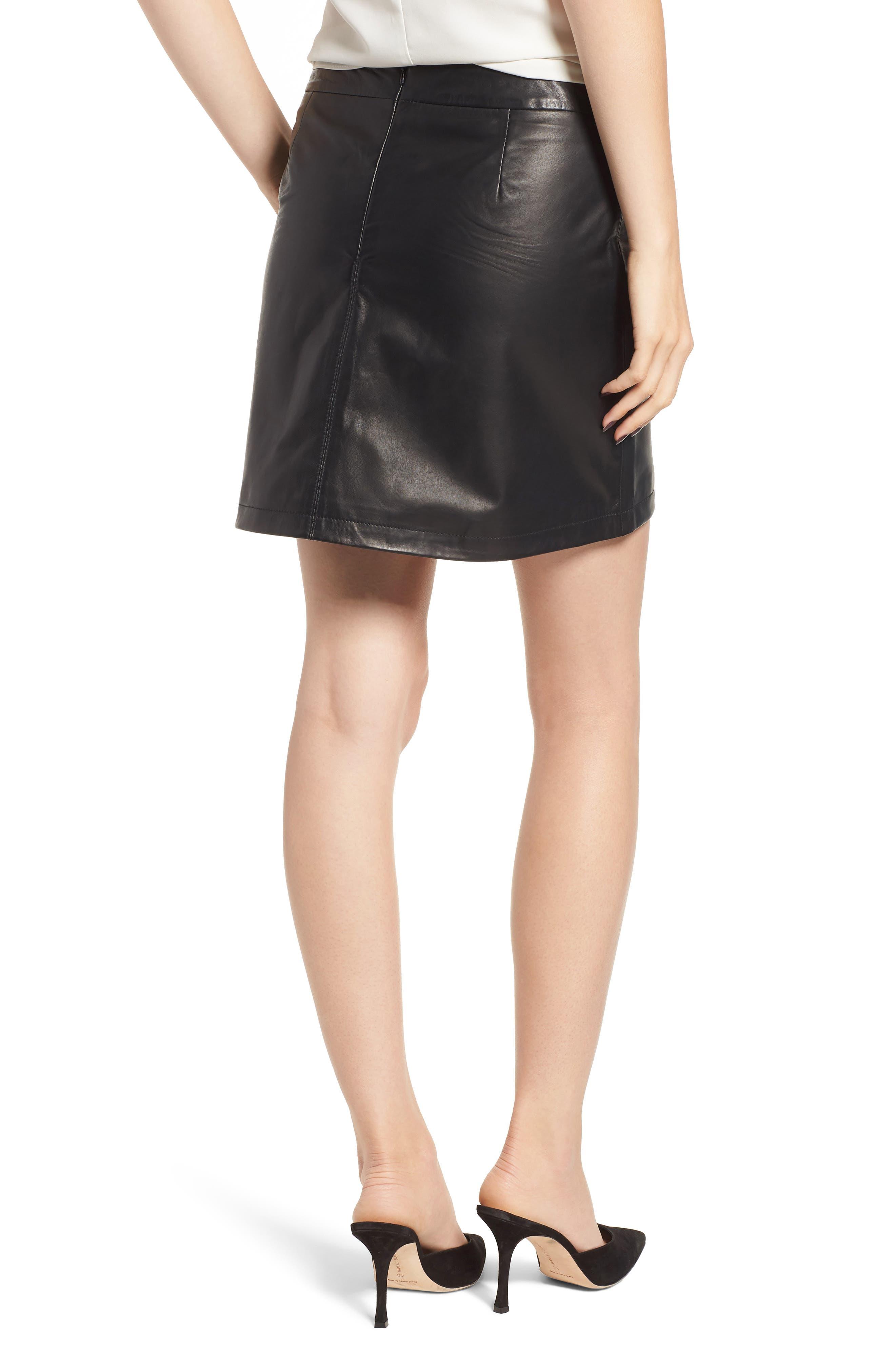 Marrie Leather Miniskirt,                             Alternate thumbnail 2, color,                             BLACK