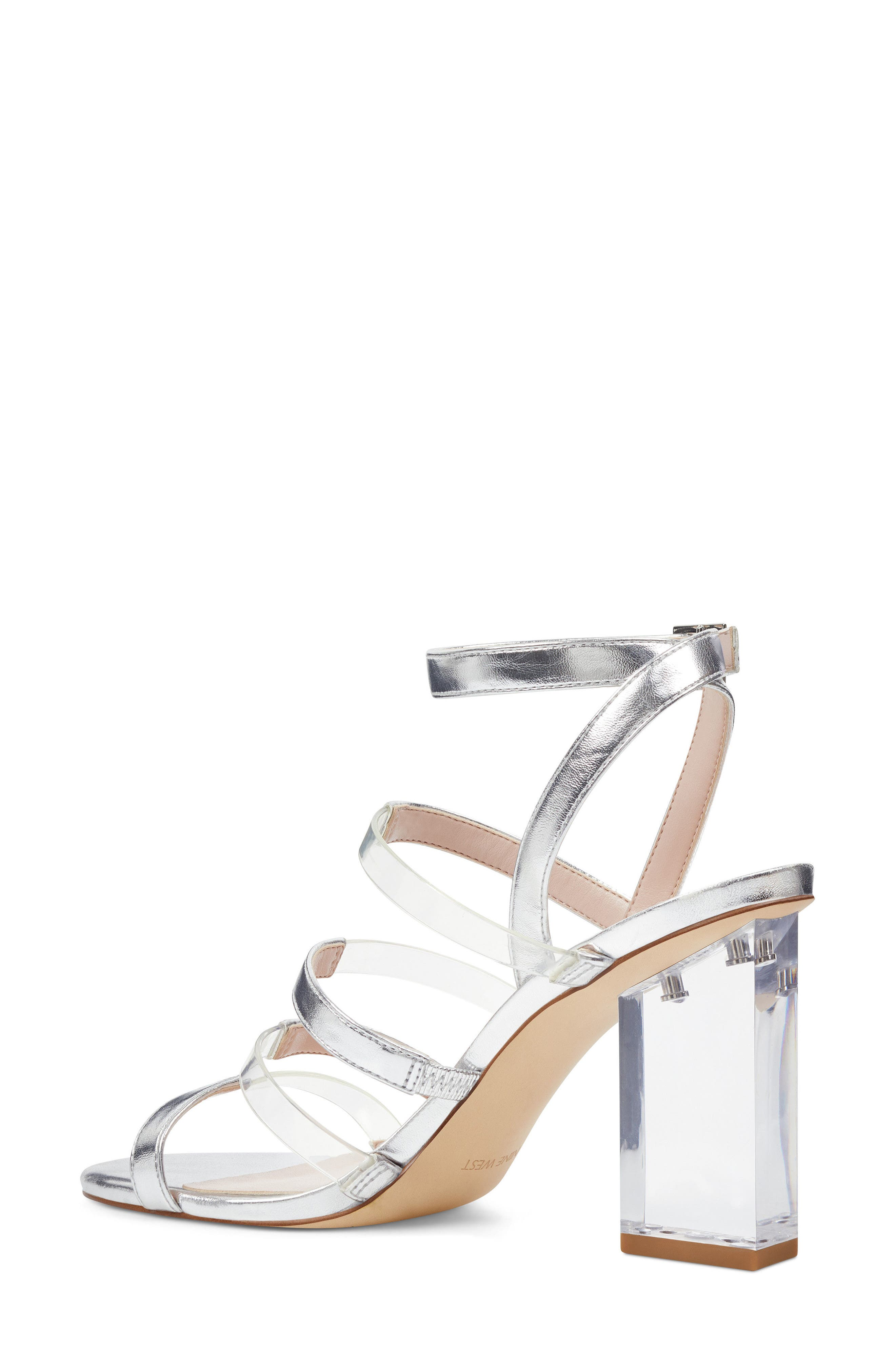 Fazzani Cage Sandal,                             Alternate thumbnail 2, color,                             CLEAR/ SILVER FAUX LEATHER