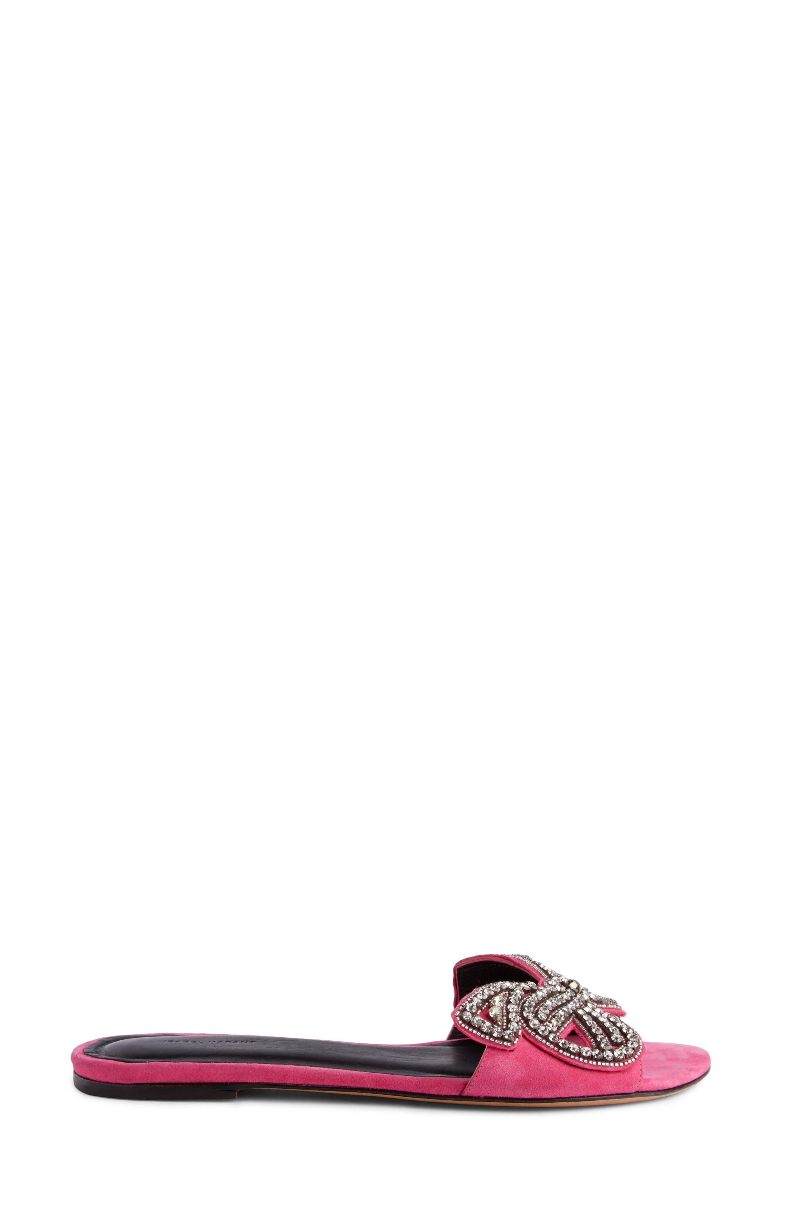 Jelson Crystal Bow Slide Sandal,                             Alternate thumbnail 3, color,                             650