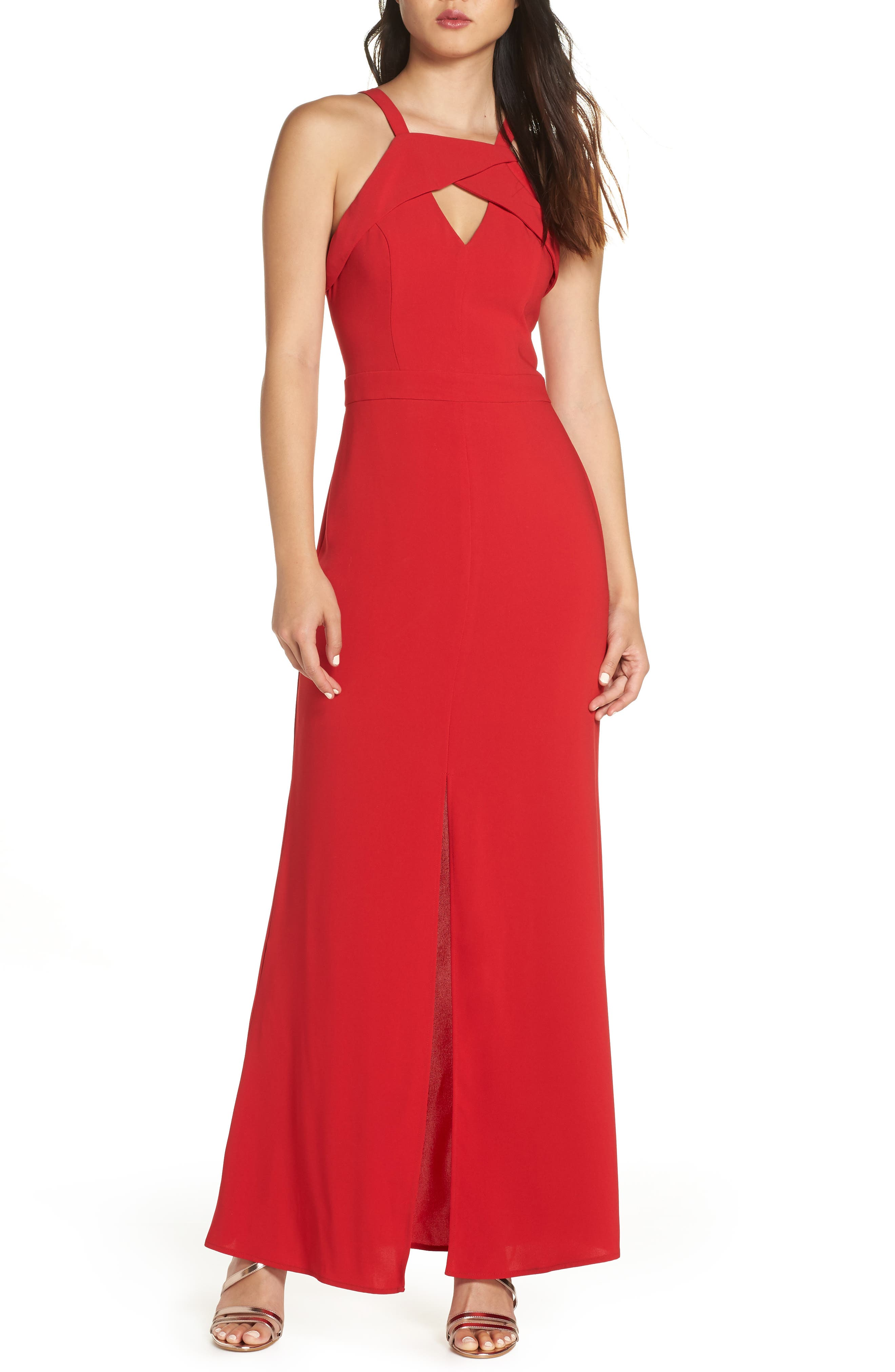 HARLYN Keyhole Bodice Gown, Main, color, RED