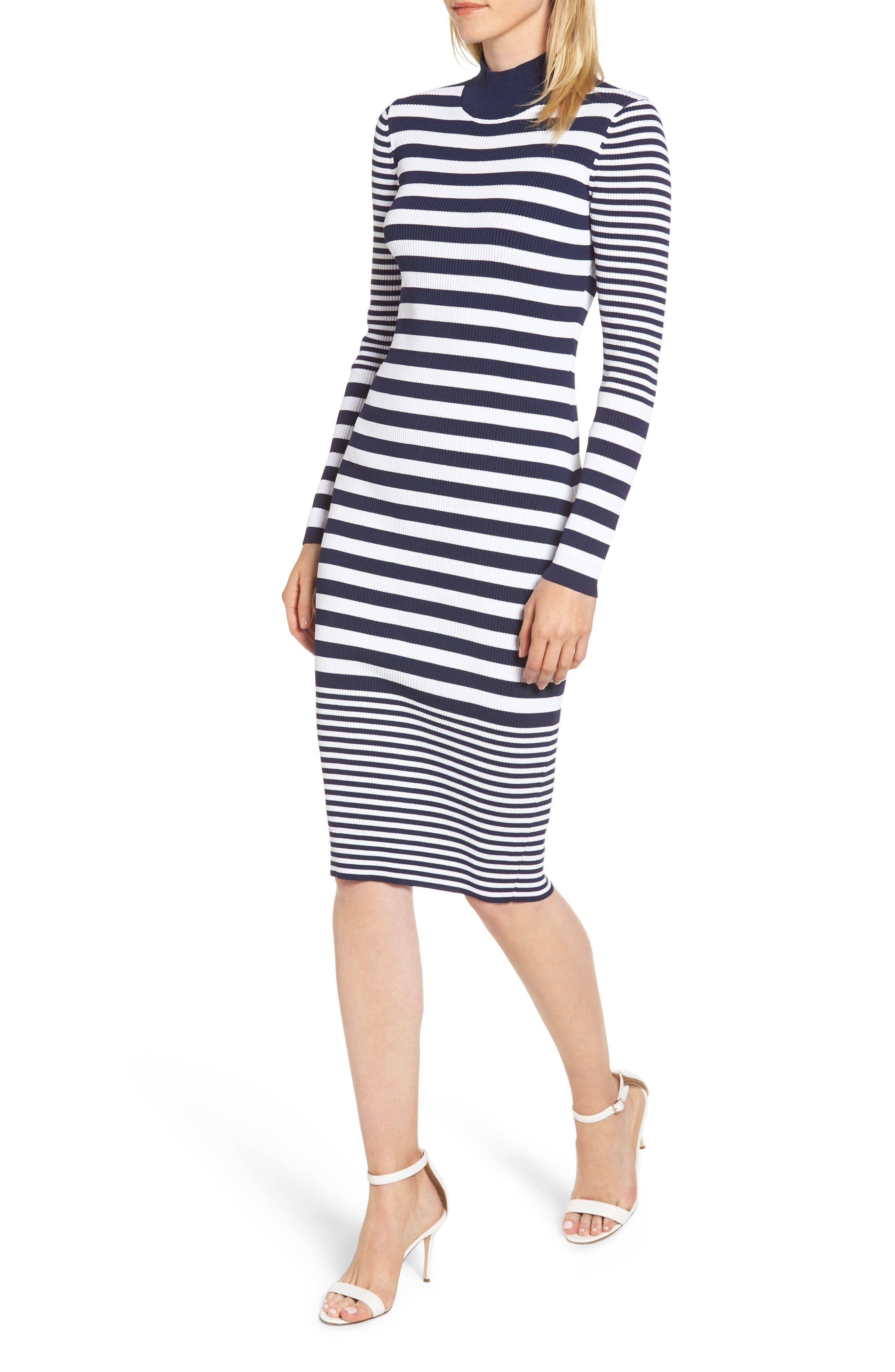 Michael Michael Kors Ribbed Mock Neck Midi Dress, Blue